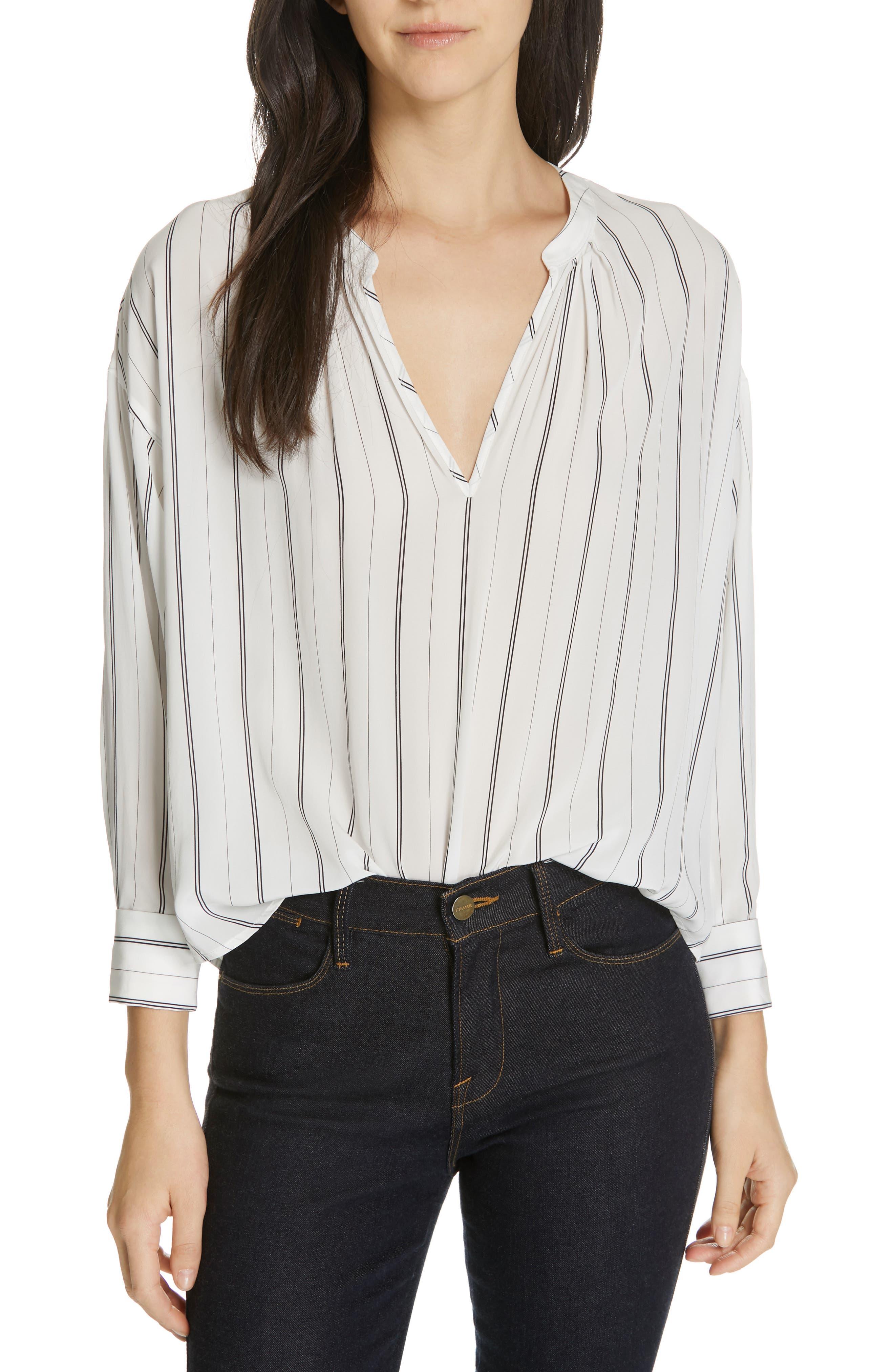 Toril Stripe Blouse, Main, color, PORCELAIN