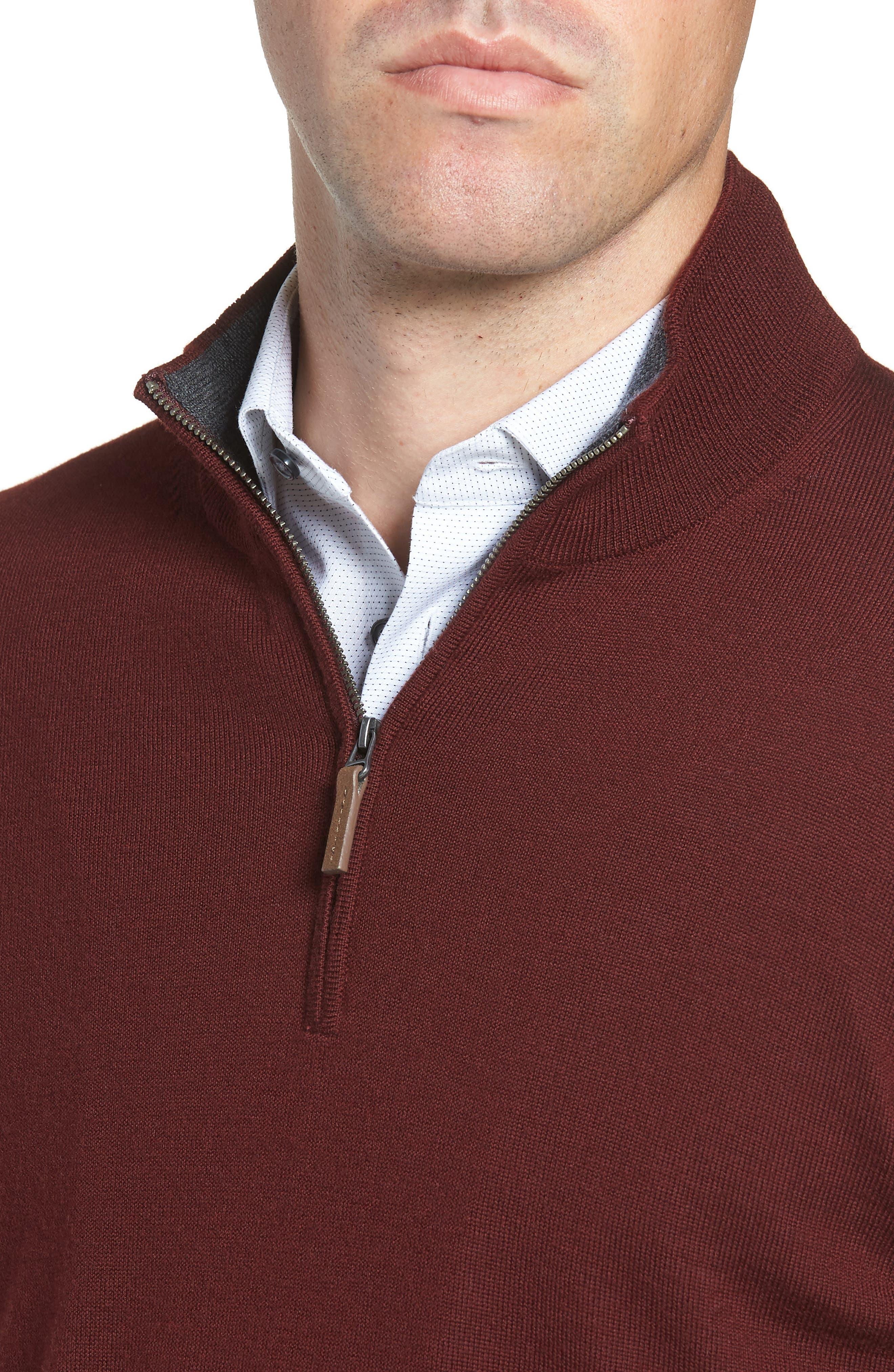 Quarter Zip Wool Pullover,                             Alternate thumbnail 4, color,                             BURGUNDY ROYALE