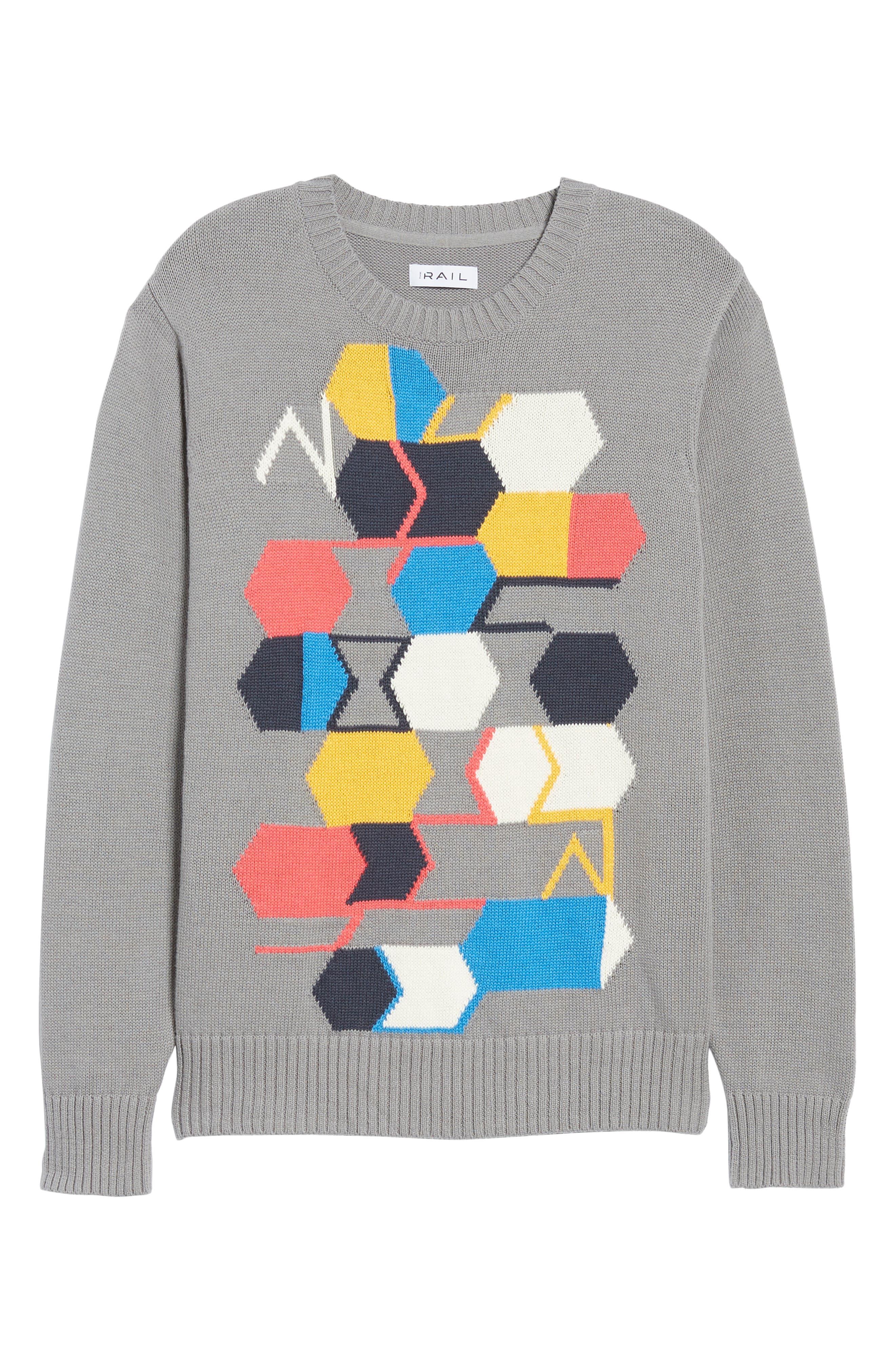 Geo Pattern Sweater,                             Alternate thumbnail 6, color,                             GREY MULTI GEO BLOCK
