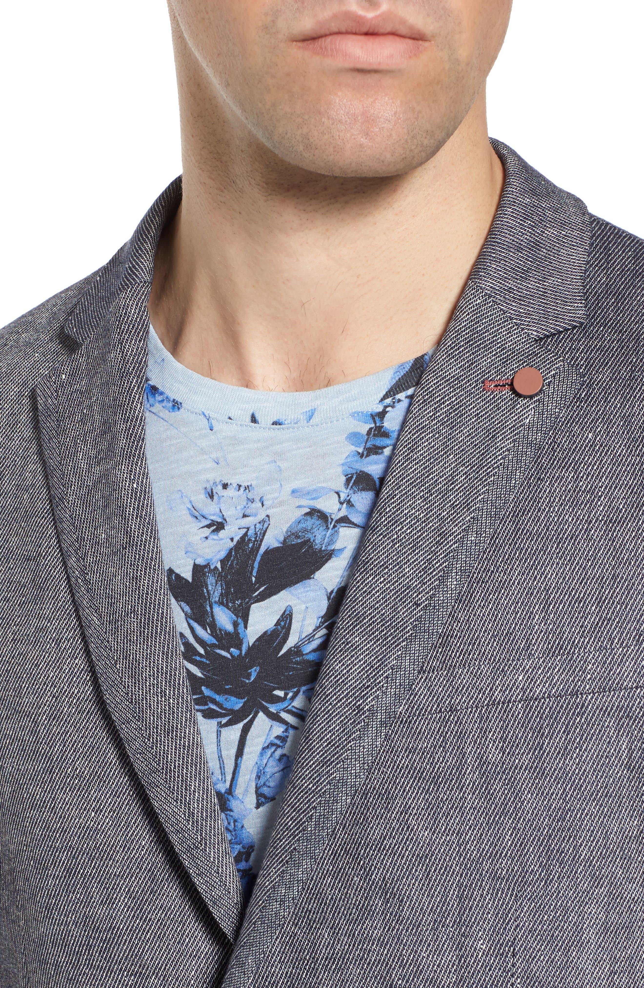 Hines Trim Fit Linen Blend Blazer,                             Alternate thumbnail 4, color,                             BLUE