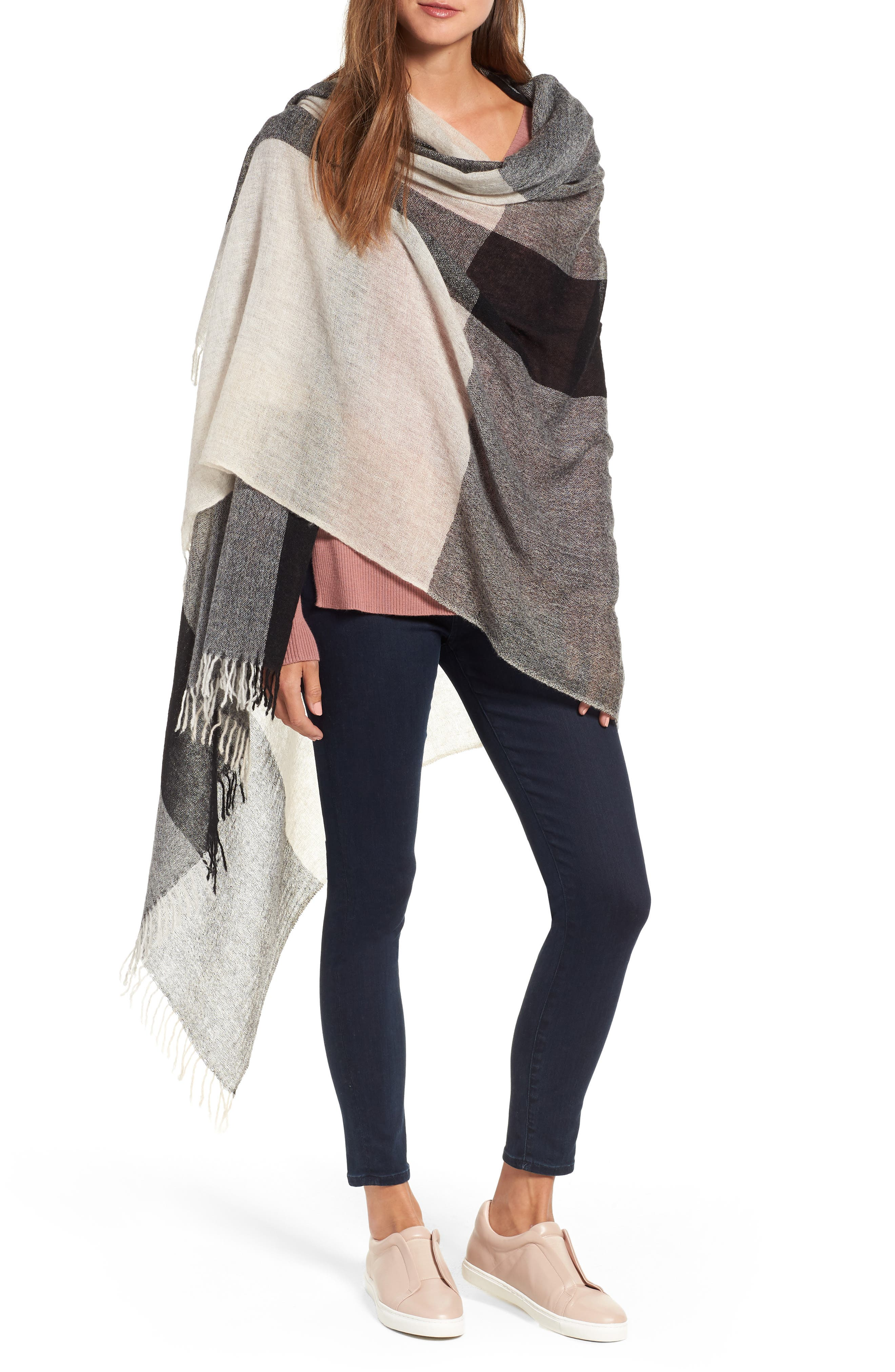 Plaid Cashmere Wrap,                         Main,                         color, BLACK COMBO