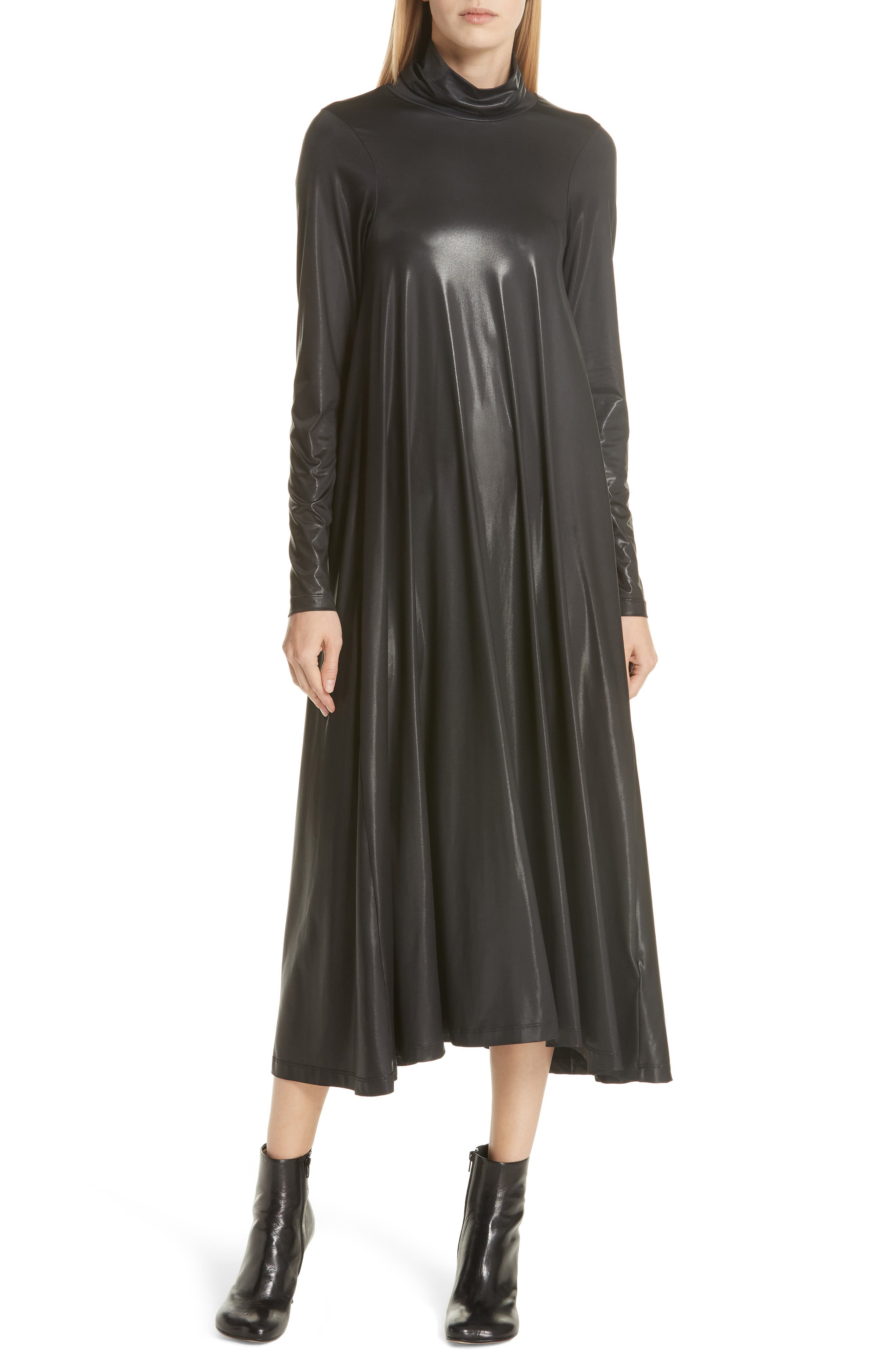 Coated Turtleneck Dress,                             Main thumbnail 1, color,                             BLACK