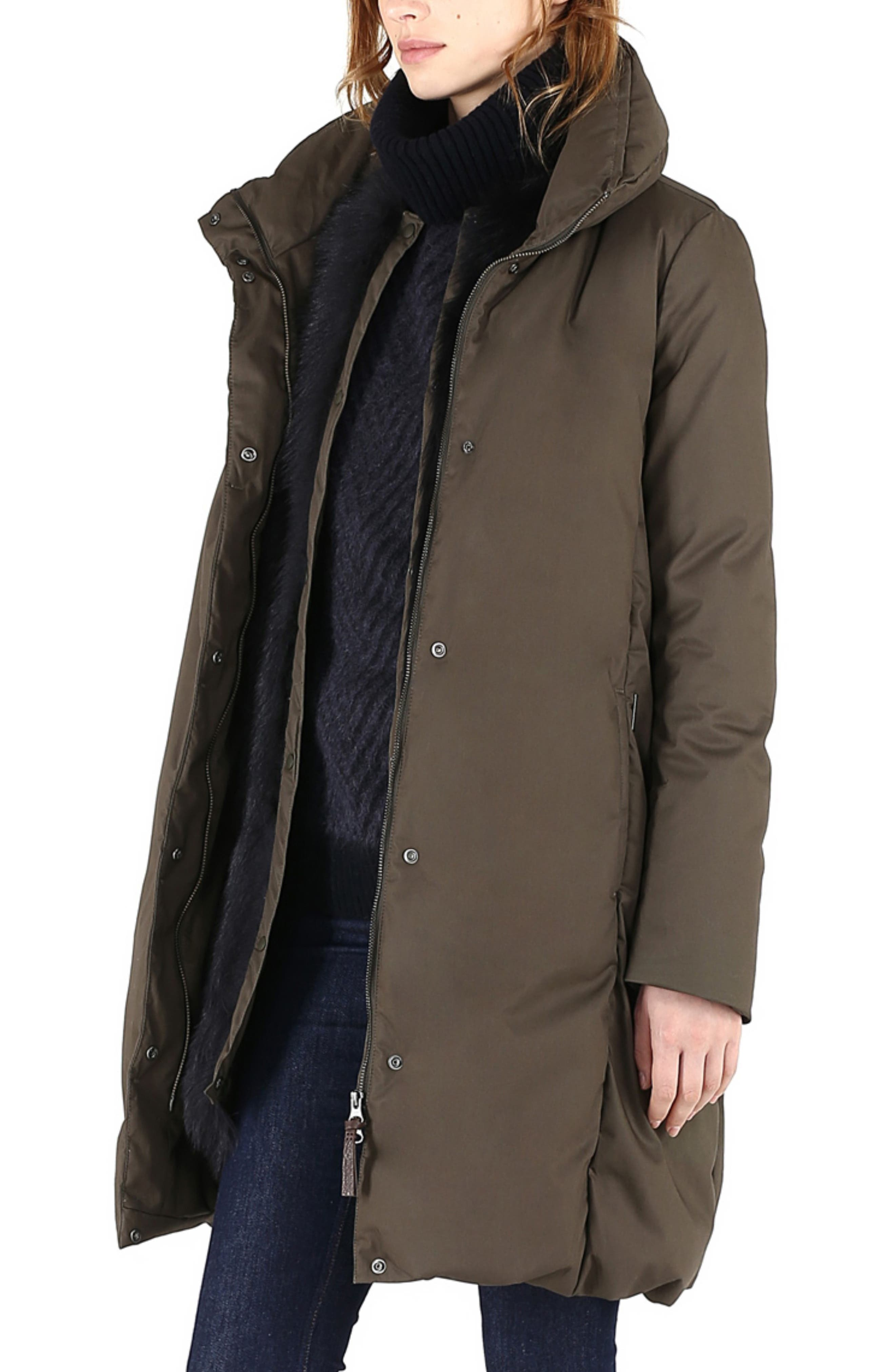 Cocoon Genuine Shearling Lined Down Coat,                             Alternate thumbnail 3, color,                             MILITARY OLIVE