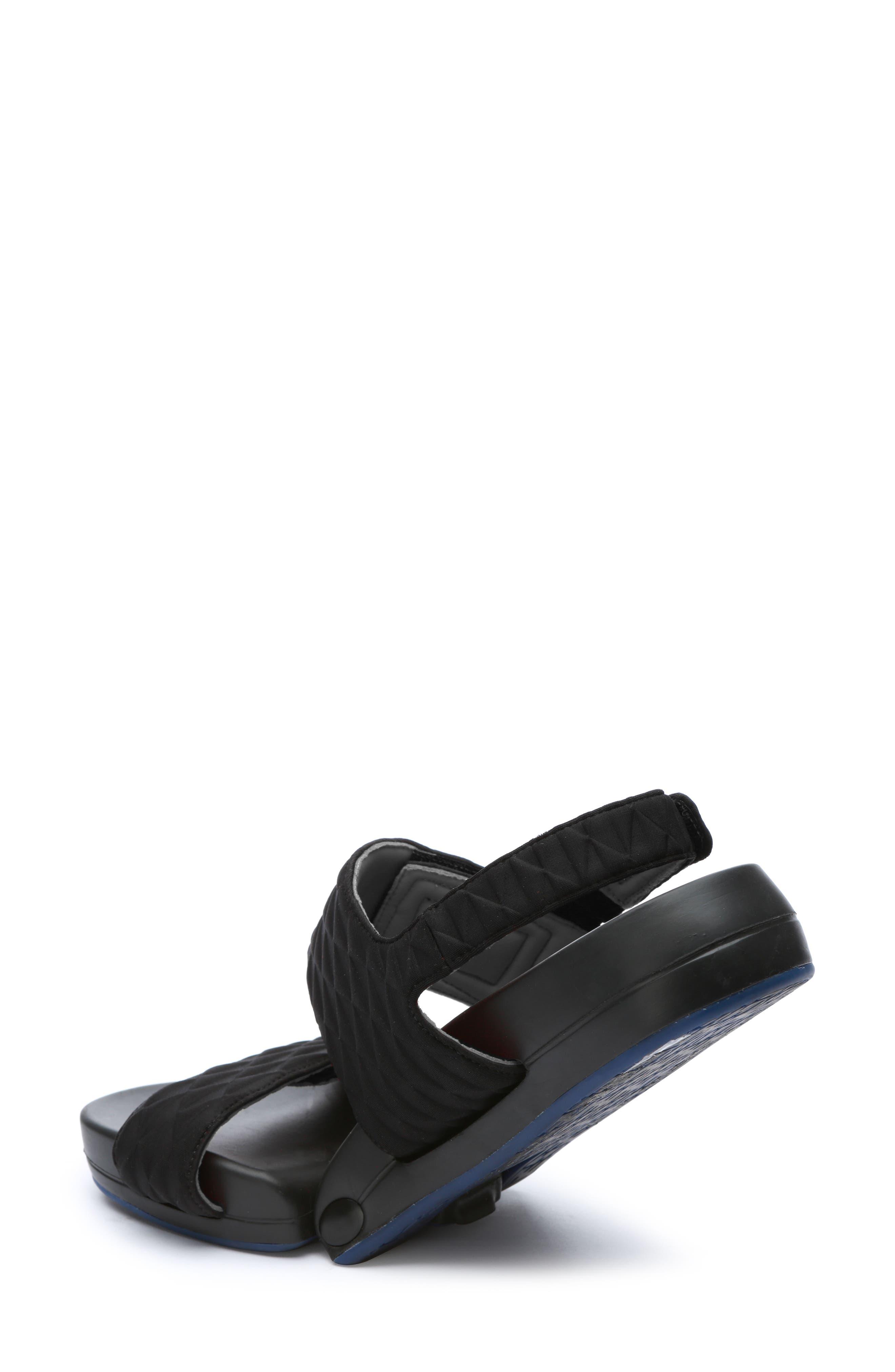 Figulous Diamond Embossed Sandal,                             Alternate thumbnail 2, color,                             BLACK DIAMOND FABRIC