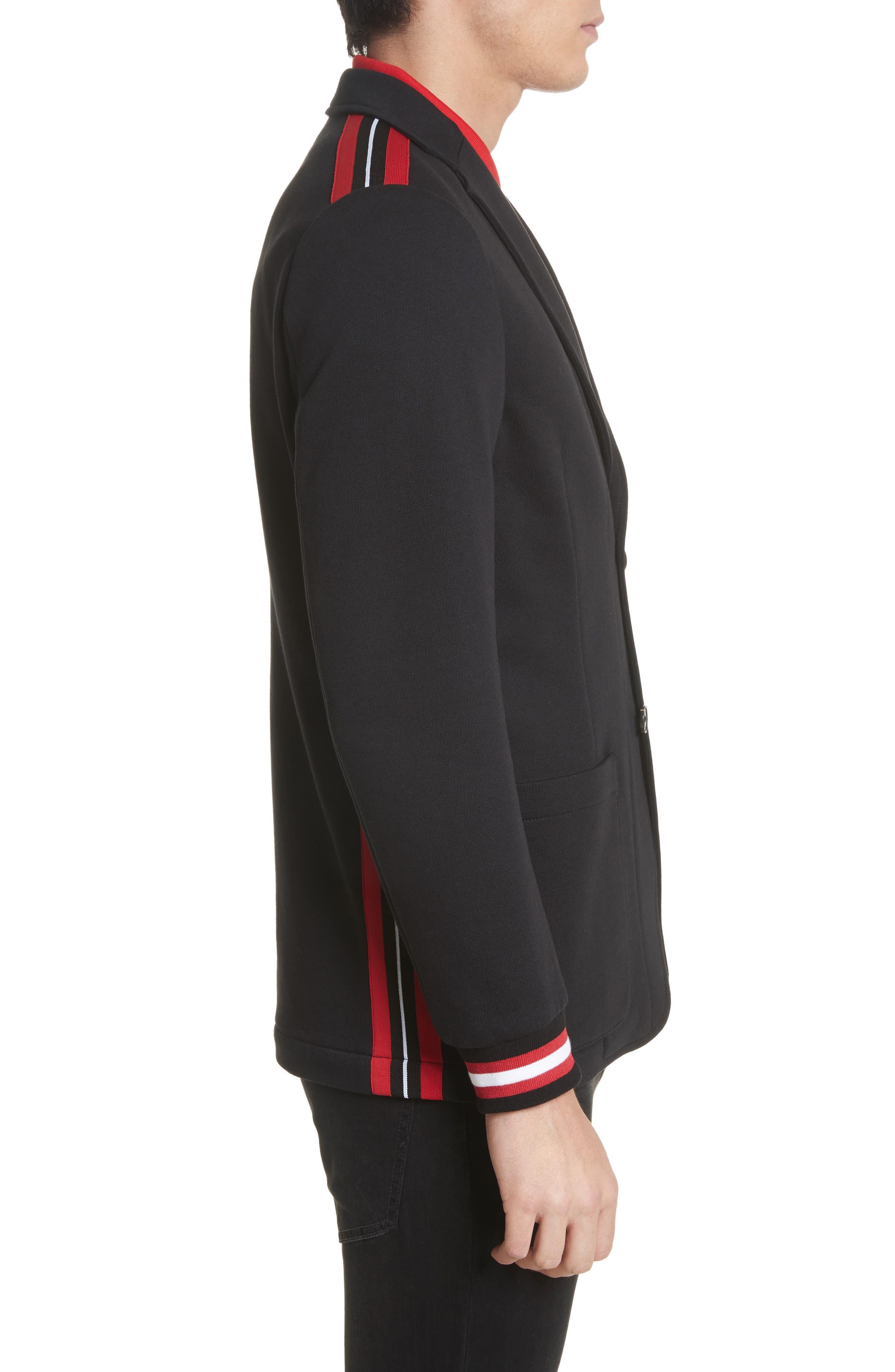Stripe Trim Jersey Sport Coat,                             Alternate thumbnail 3, color,                             001
