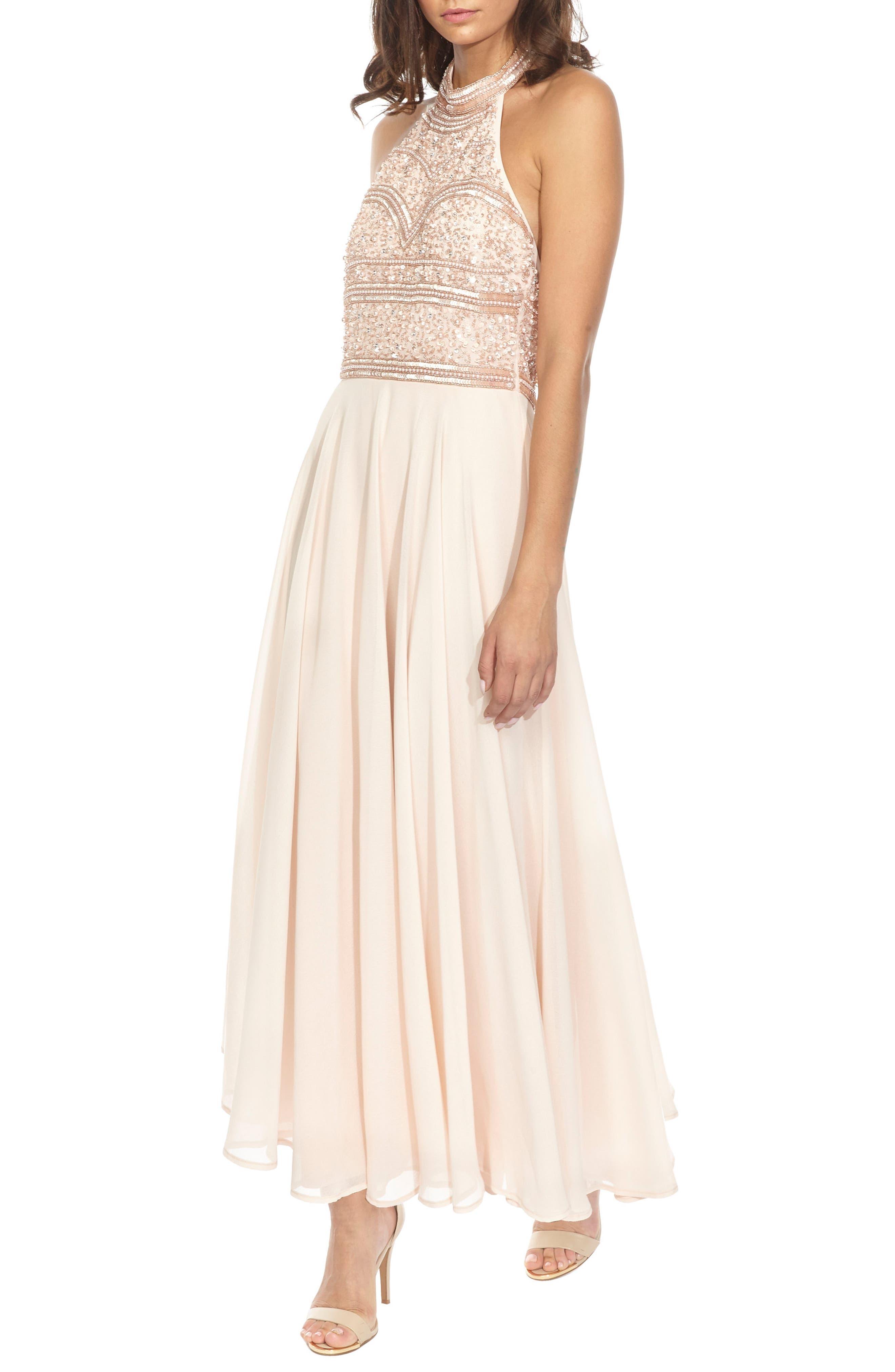 Sunrise Embellished Halter Maxi Dress,                             Alternate thumbnail 3, color,                             250