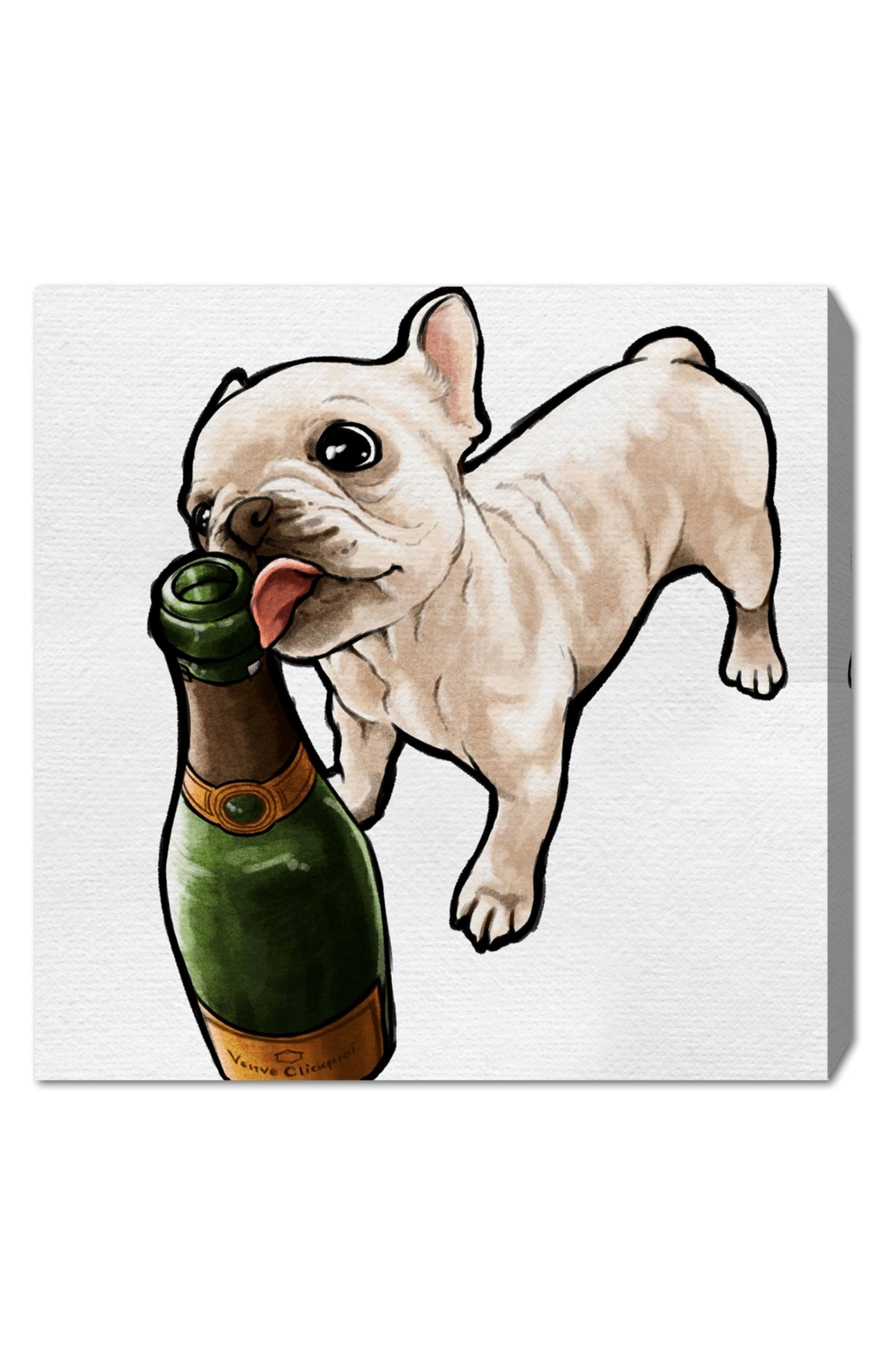 Frenchie & Bubbly Canvas Wall Art,                             Main thumbnail 1, color,                             WHITE