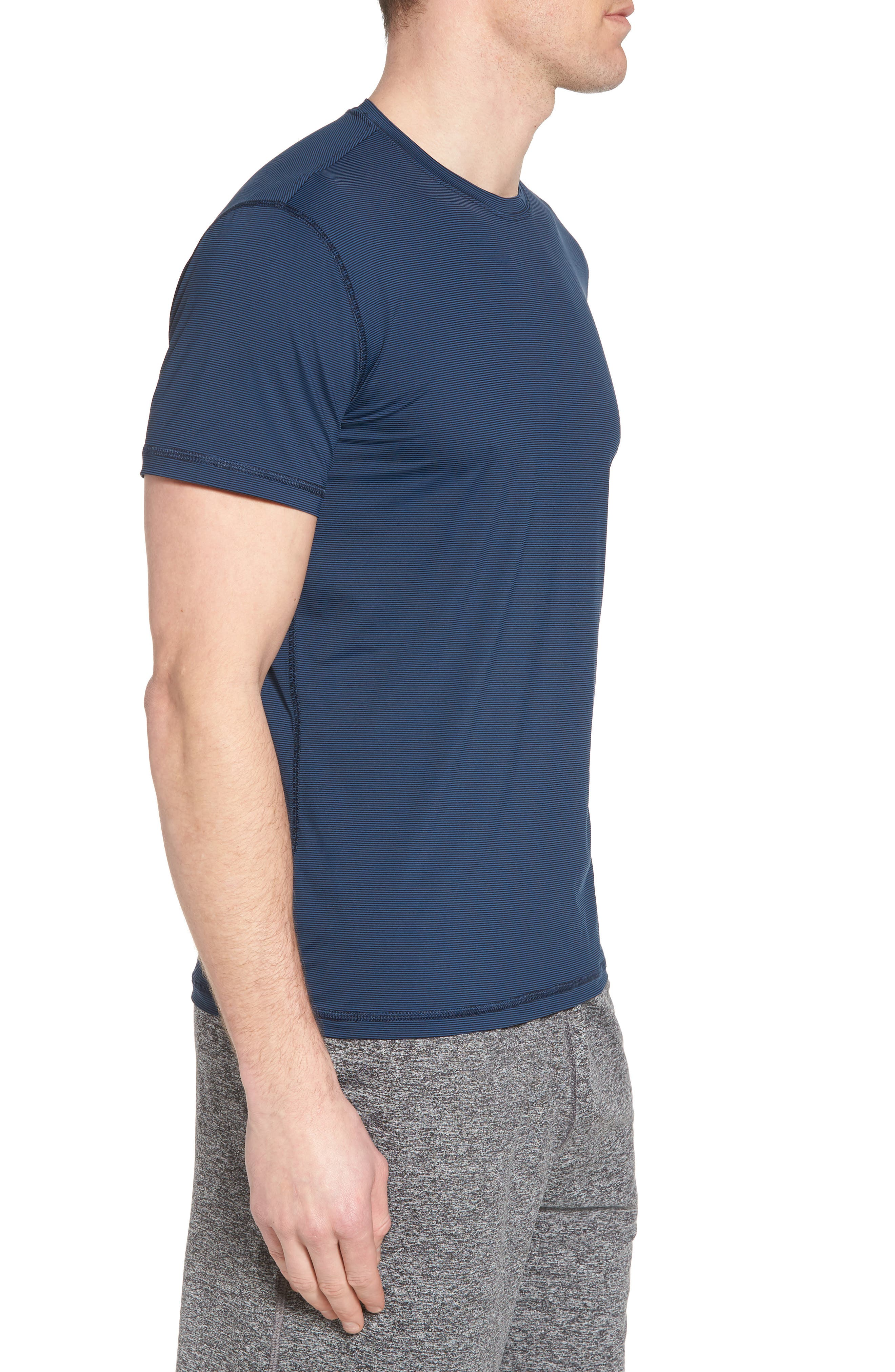 Lightweight Micro-Stripe Workout T-Shirt,                             Alternate thumbnail 3, color,                             INDIGO BLUE/ BLACK