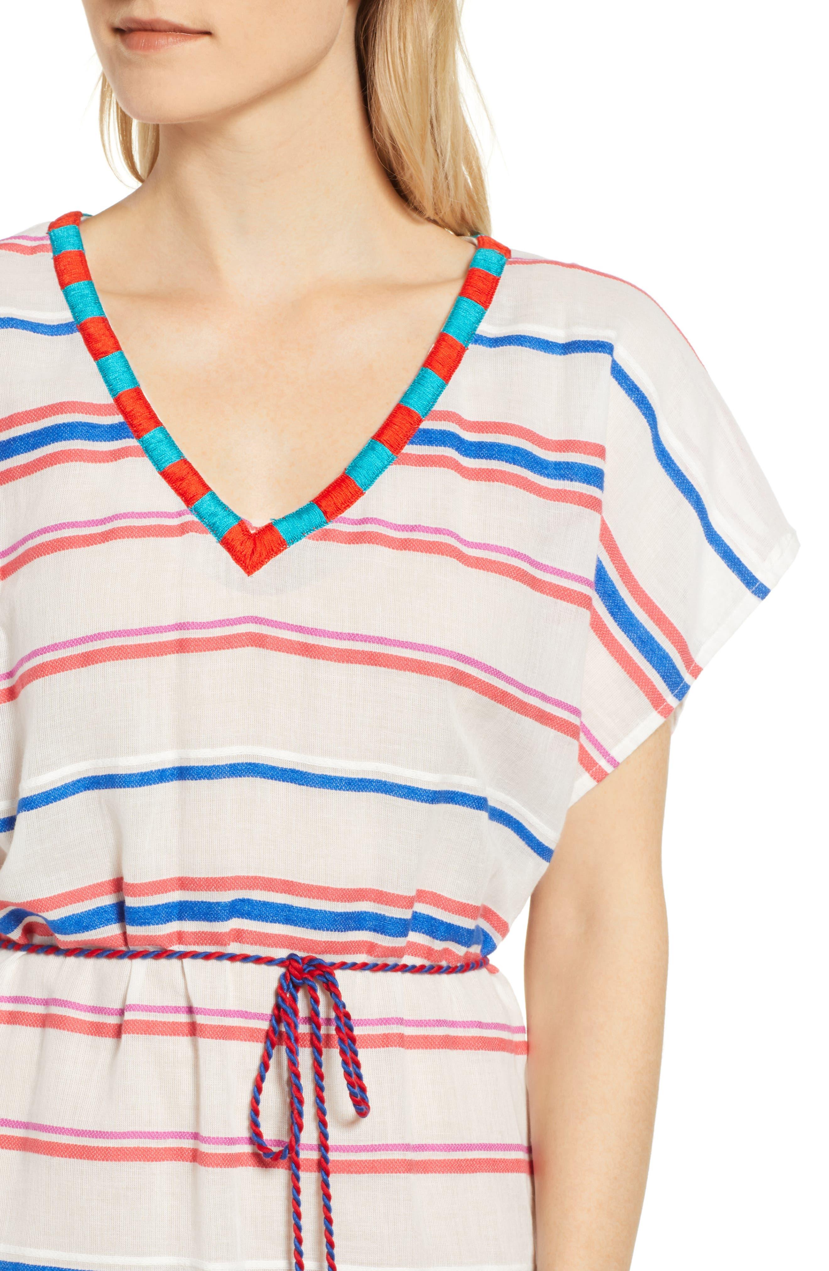 Stripe Caftan Dress,                             Alternate thumbnail 4, color,                             196