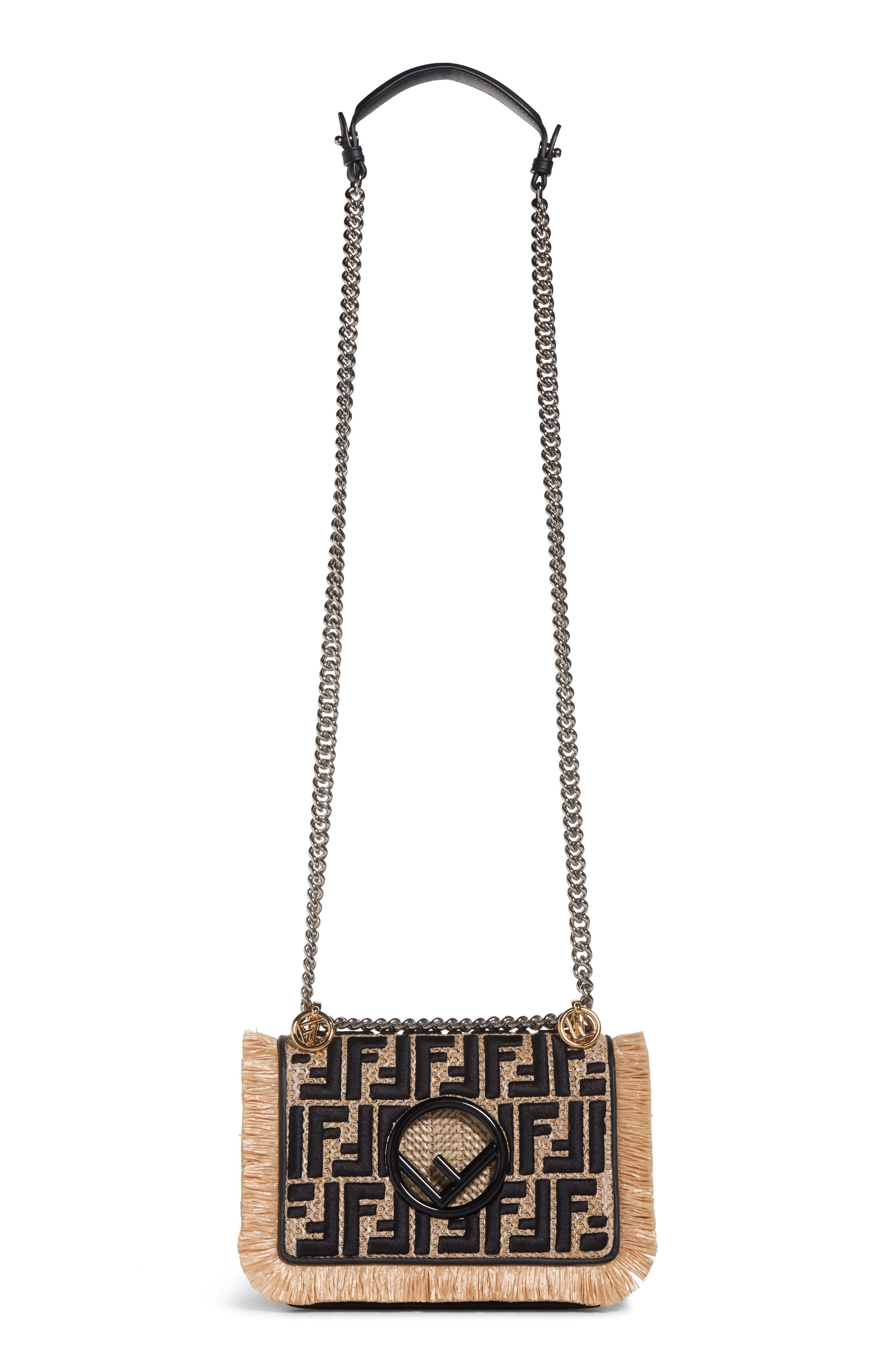 Kan I Raffia & Leather Small Shoulder Bag,                         Main,                         color, NATURAL/ NERO