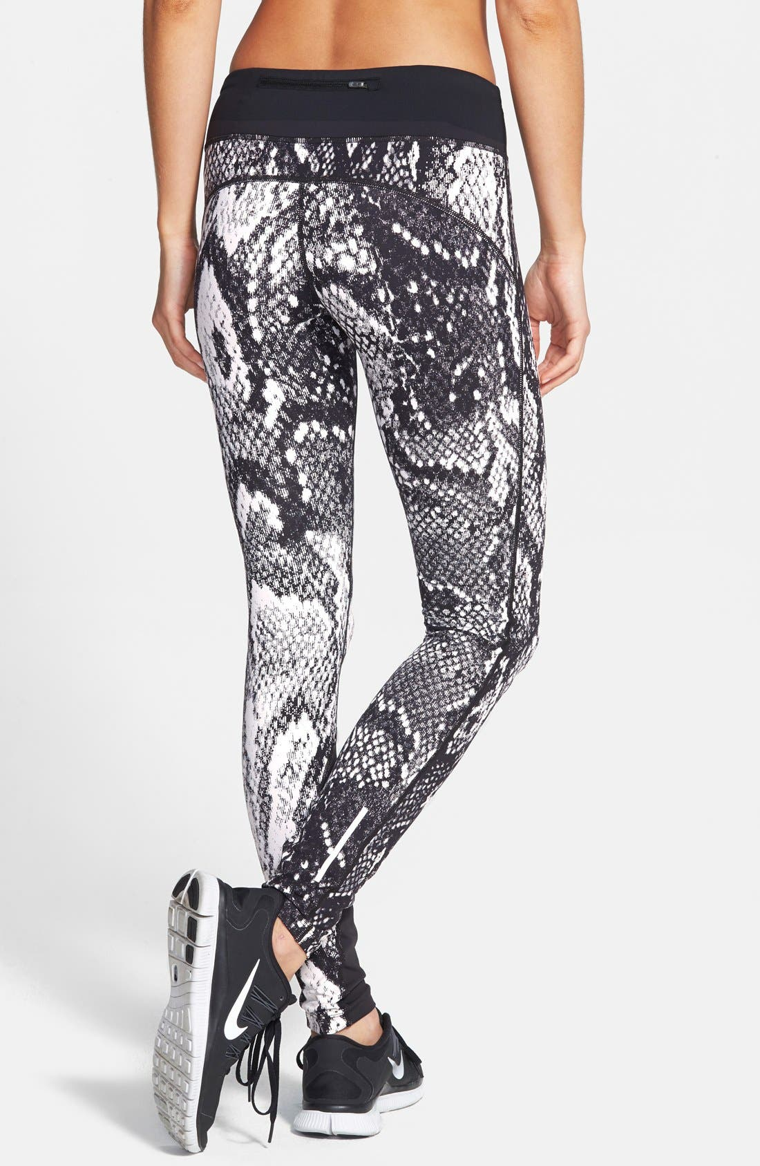 'Epic Lux' Snakeskin Print Running Tights,                             Alternate thumbnail 7, color,