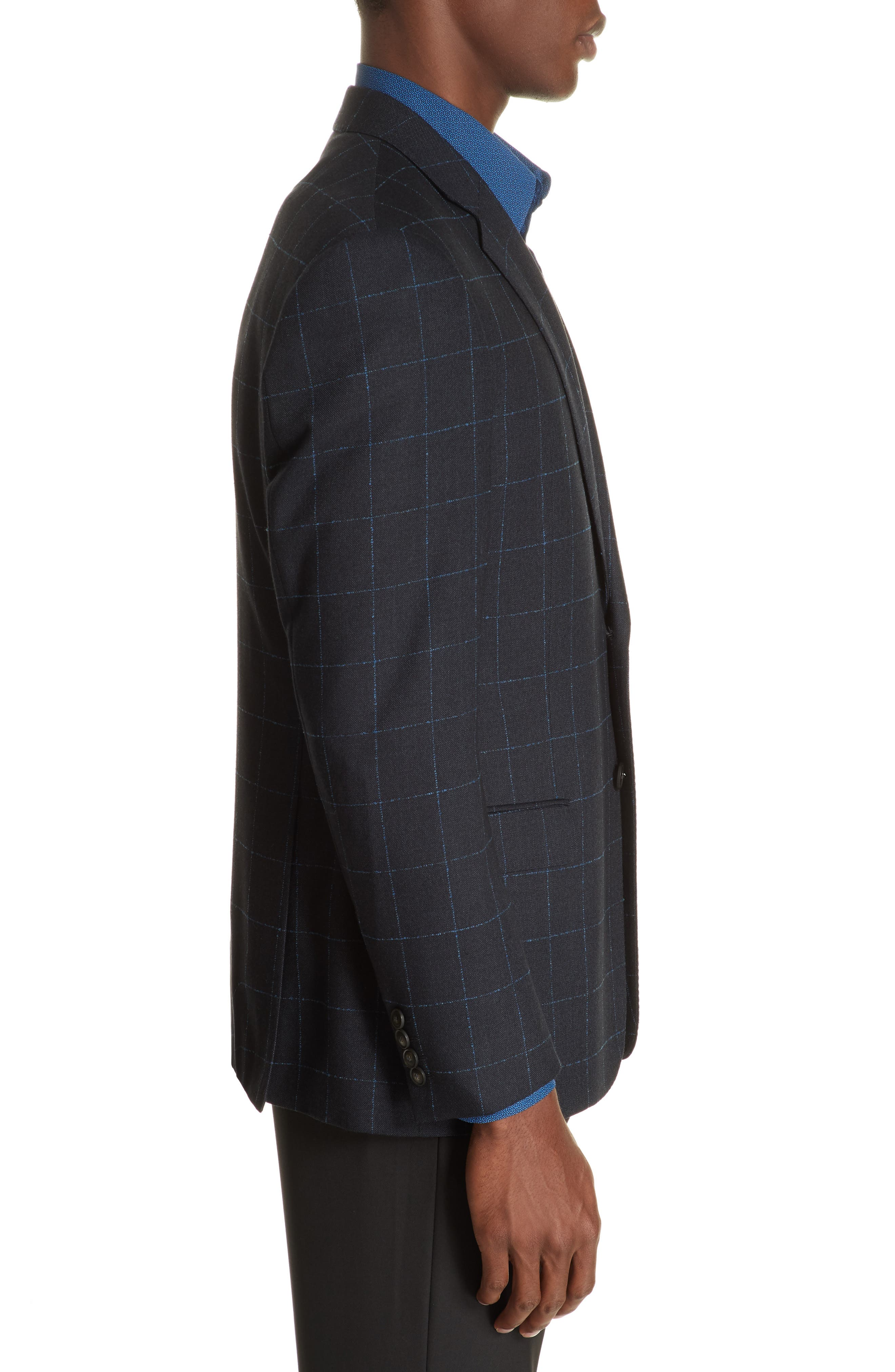 G-Line Trim Fit Stretch Windowpane Sport Coat,                             Alternate thumbnail 3, color,                             NAVY