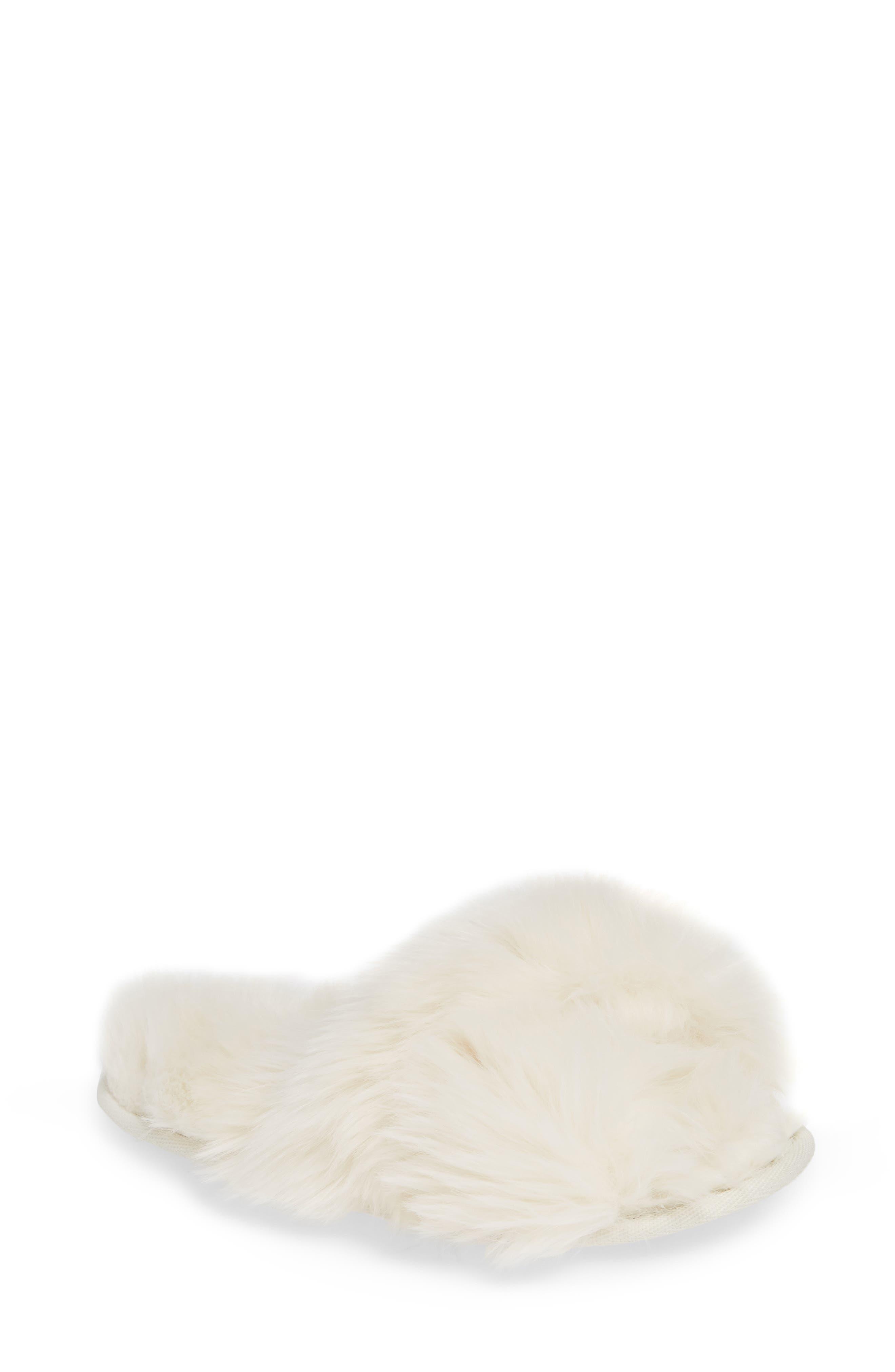 Cuddle Plush Faux Fur Scuff Slipper,                             Main thumbnail 1, color,                             IVORY