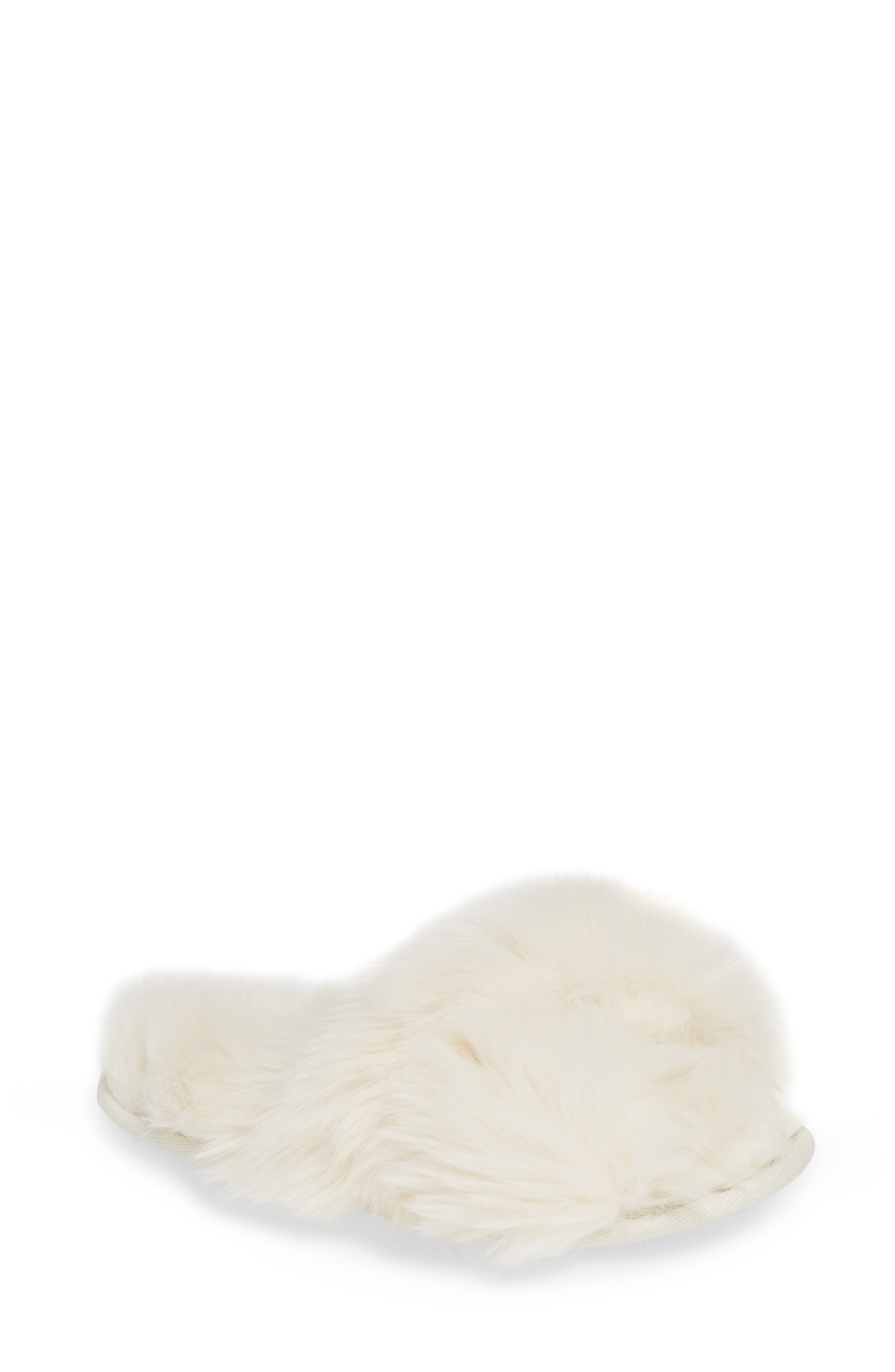 Cuddle Plush Faux Fur Scuff Slipper,                         Main,                         color, IVORY