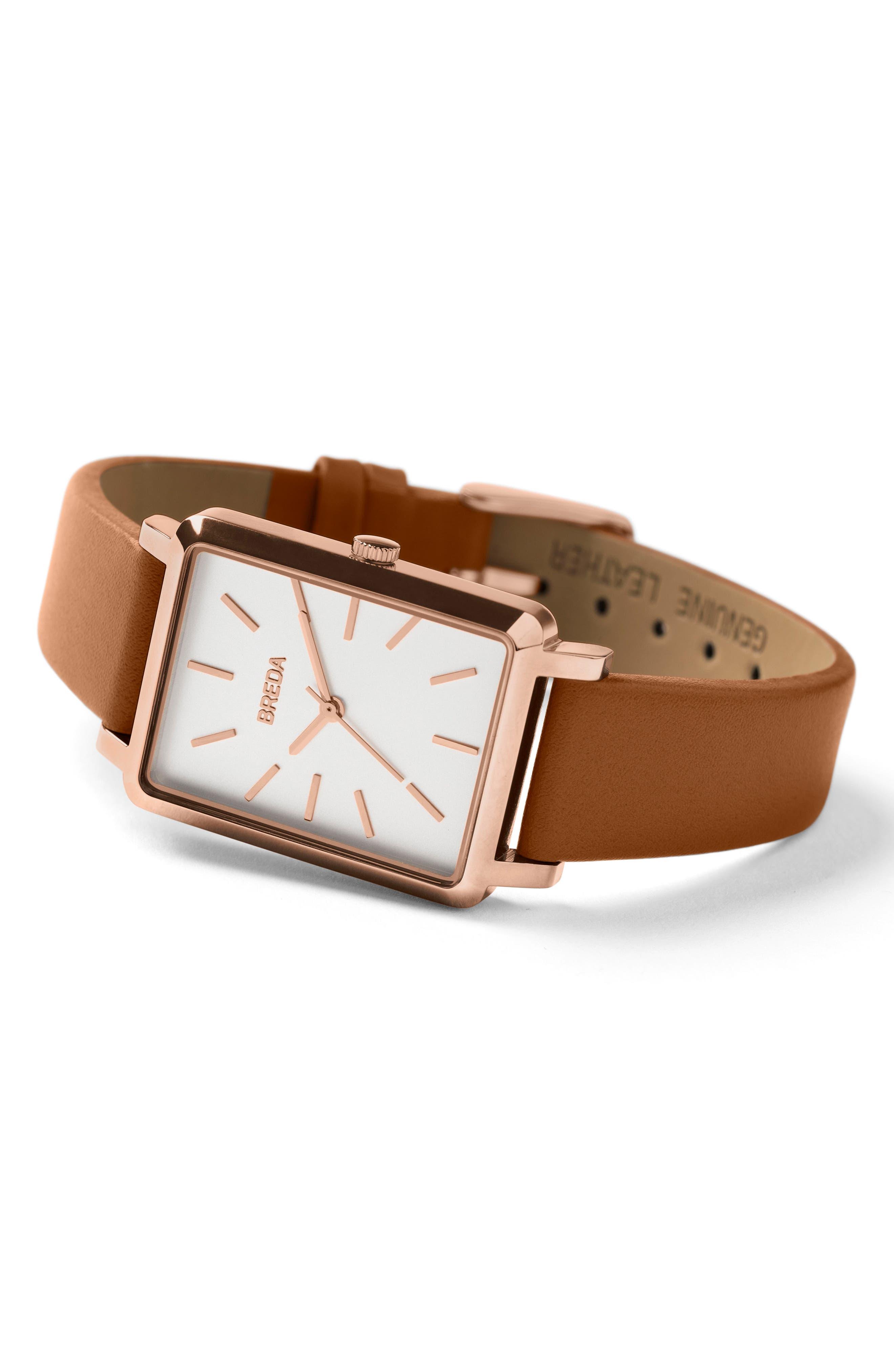 Baer Rectangular Leather Strap Watch, 26mm,                             Alternate thumbnail 8, color,