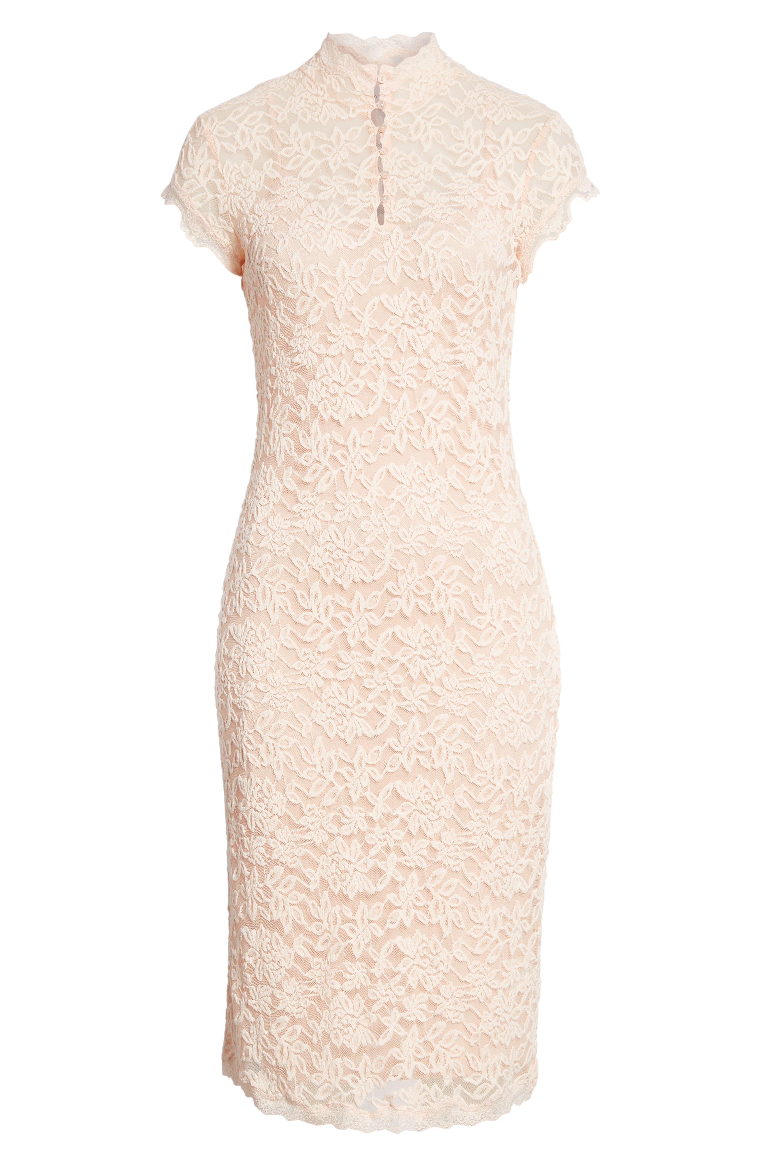 Delicia Lace Body-Con Dress,                             Alternate thumbnail 7, color,                             PALE DOGWOOD