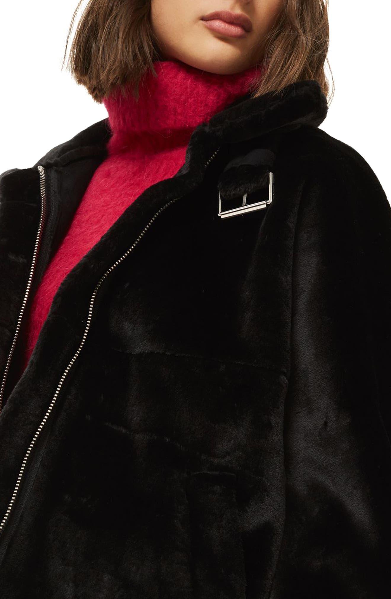 Faux Fur Buckle Biker Jacket,                             Alternate thumbnail 3, color,                             001