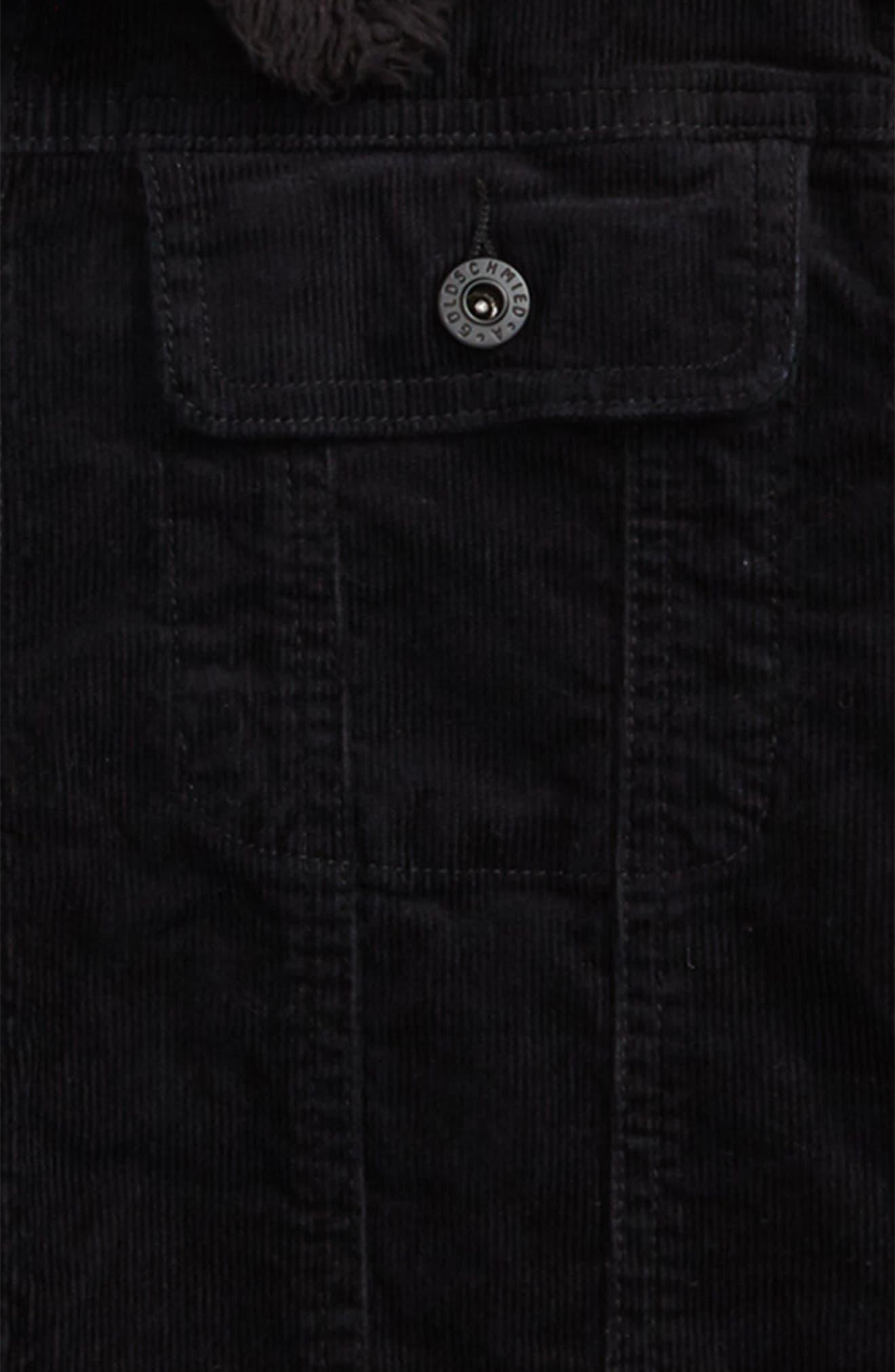 ag adriano goldschmied Brody Plush Collar Corduroy Jacket Collar,                             Alternate thumbnail 2, color,                             BLACK