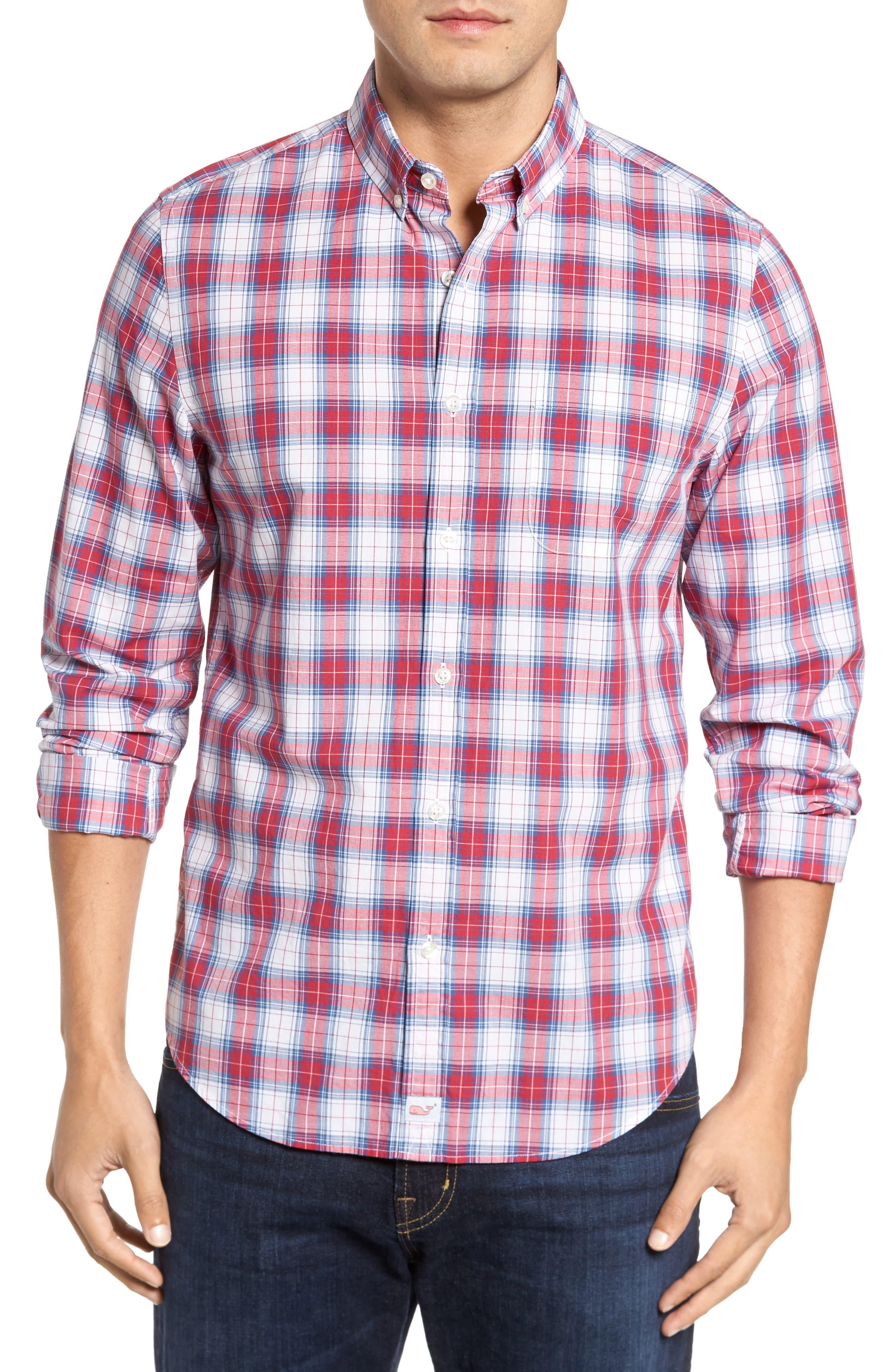 Murray Bucklin Point Slim Fit Plaid Sport Shirt,                             Main thumbnail 1, color,