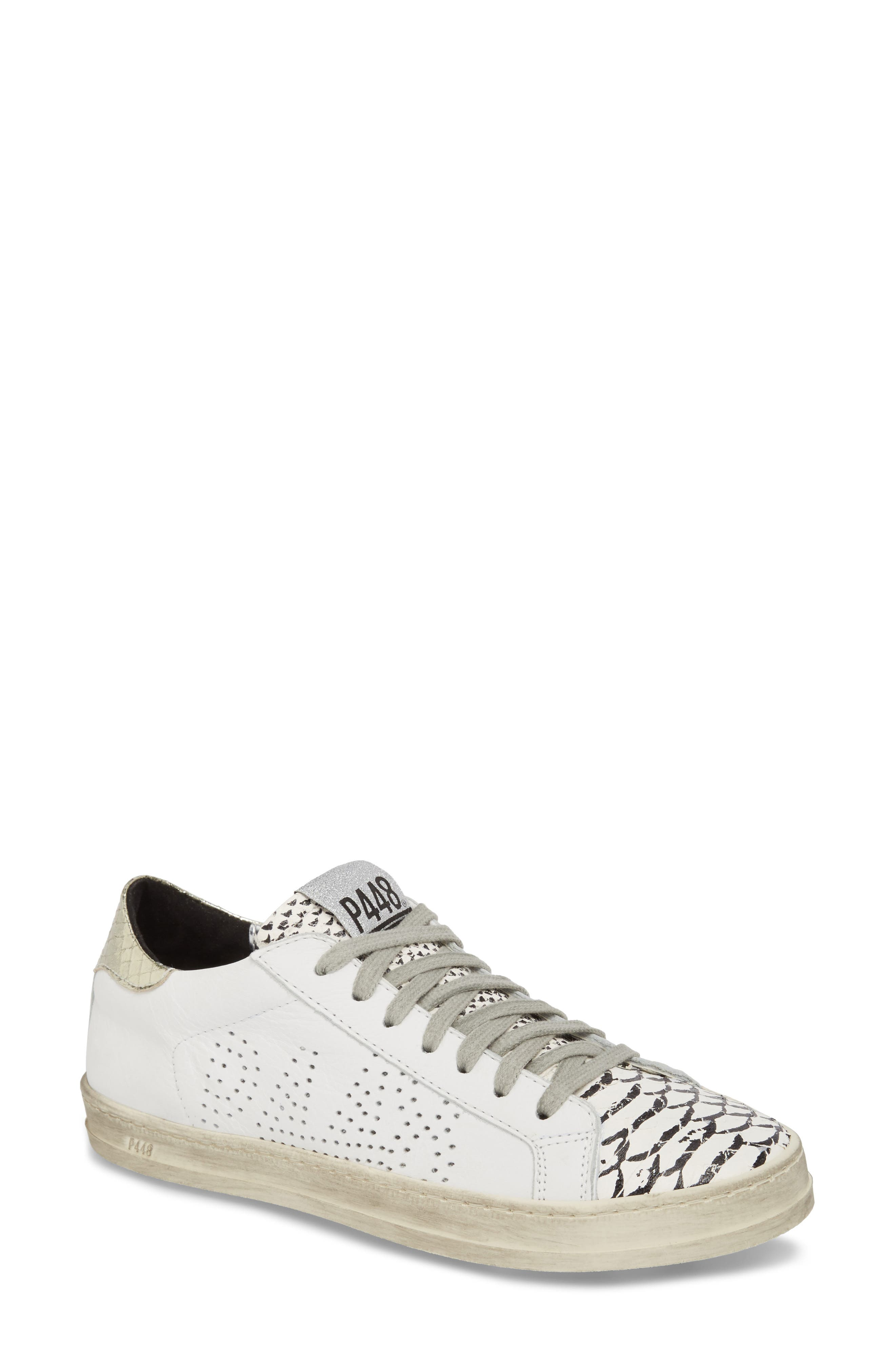Women'S John Perforated Leather & Snake Print Lace Up Sneakers in White Printed