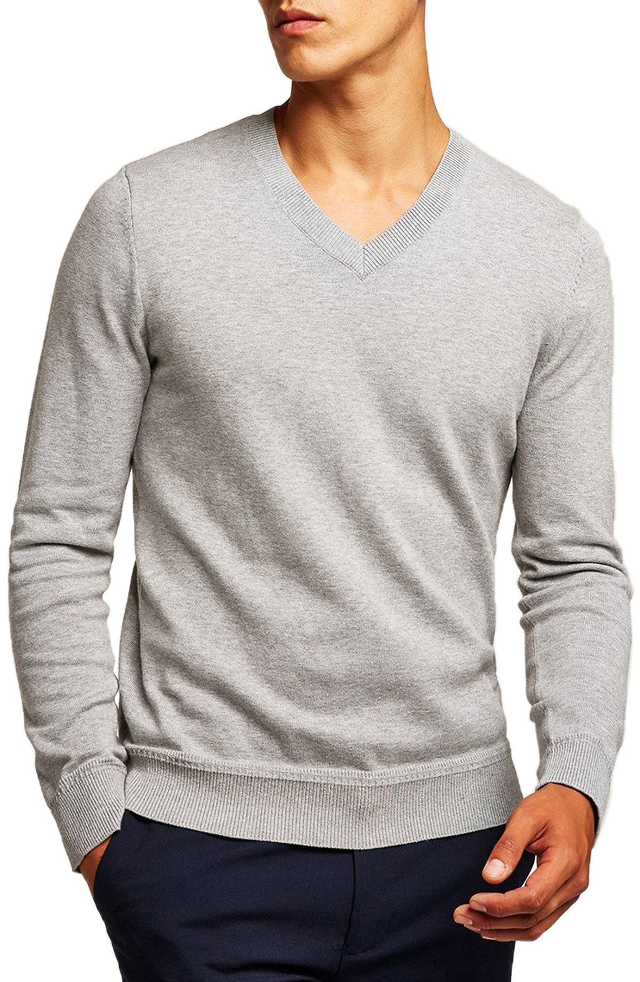 Classic V-Neck Sweater,                         Main,                         color, GREY