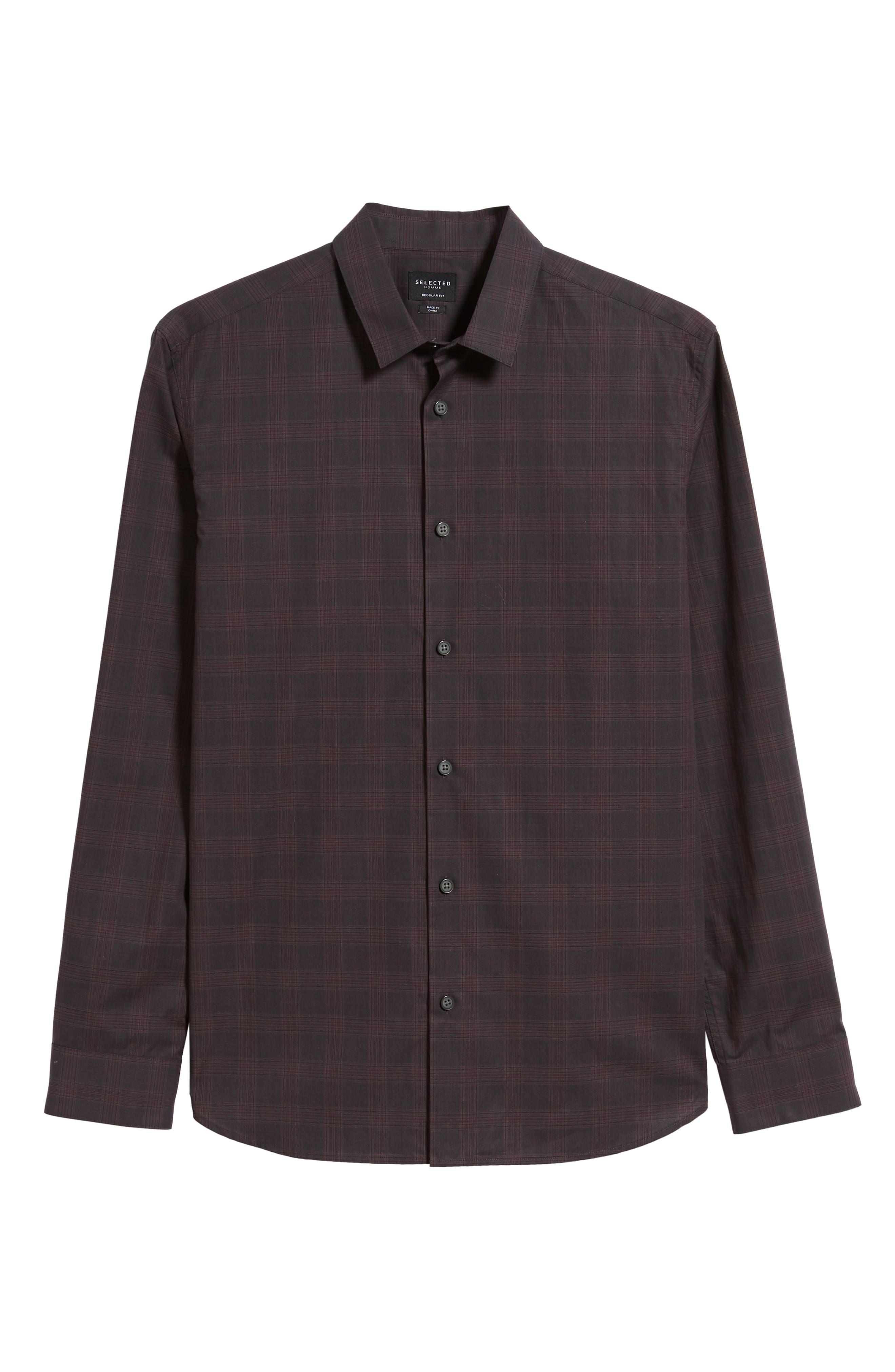Regaron Regular Fit Check Sport Shirt,                             Alternate thumbnail 5, color,                             GREY