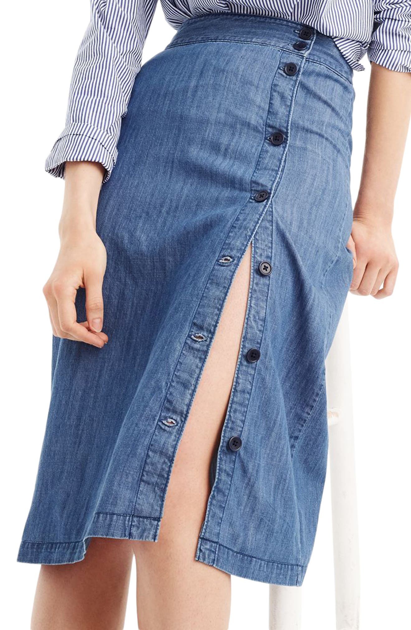 Side Button Chambray Skirt,                             Alternate thumbnail 2, color,