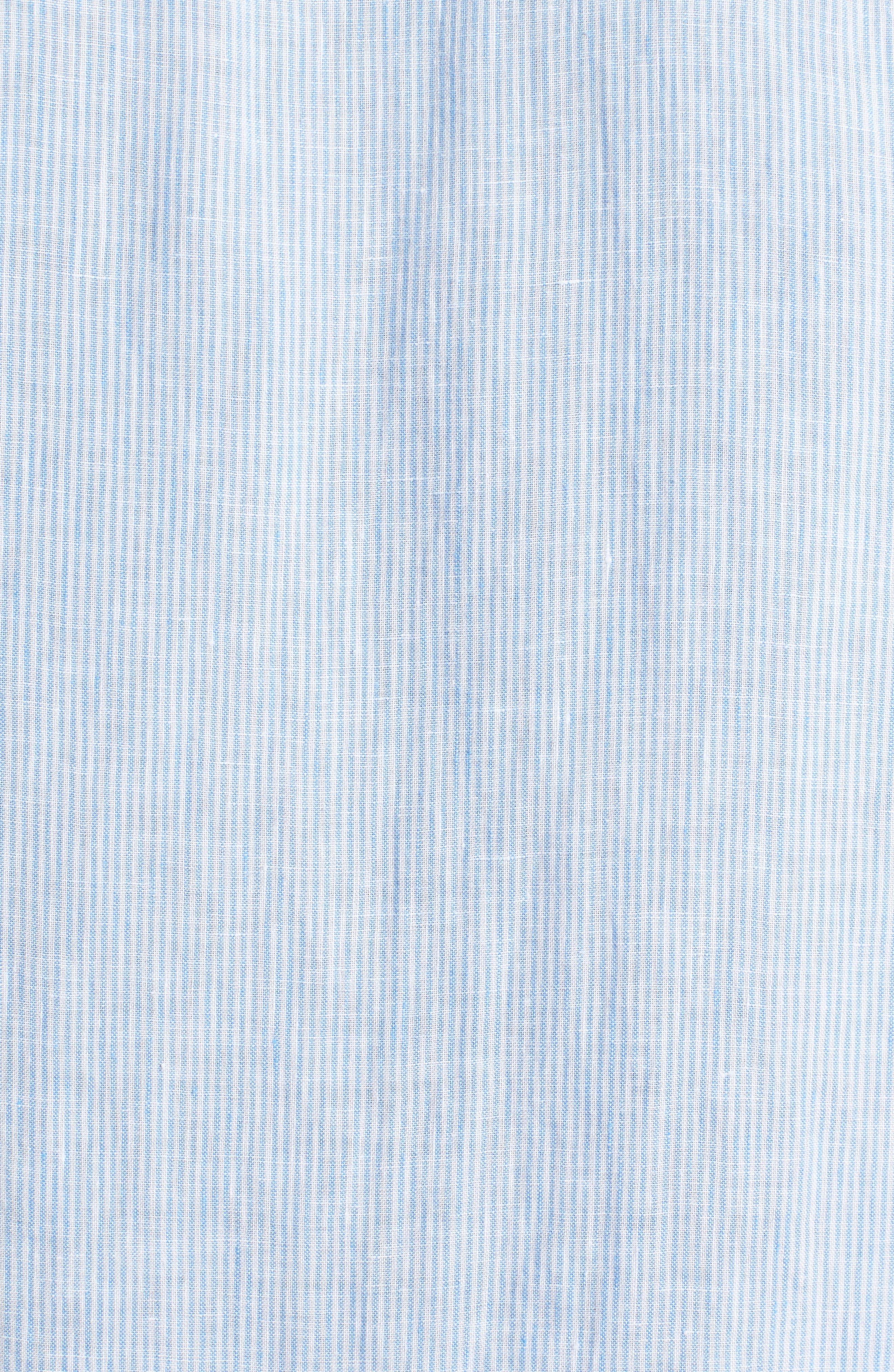 Trim Fit Microstripe Linen Shirt,                             Alternate thumbnail 4, color,