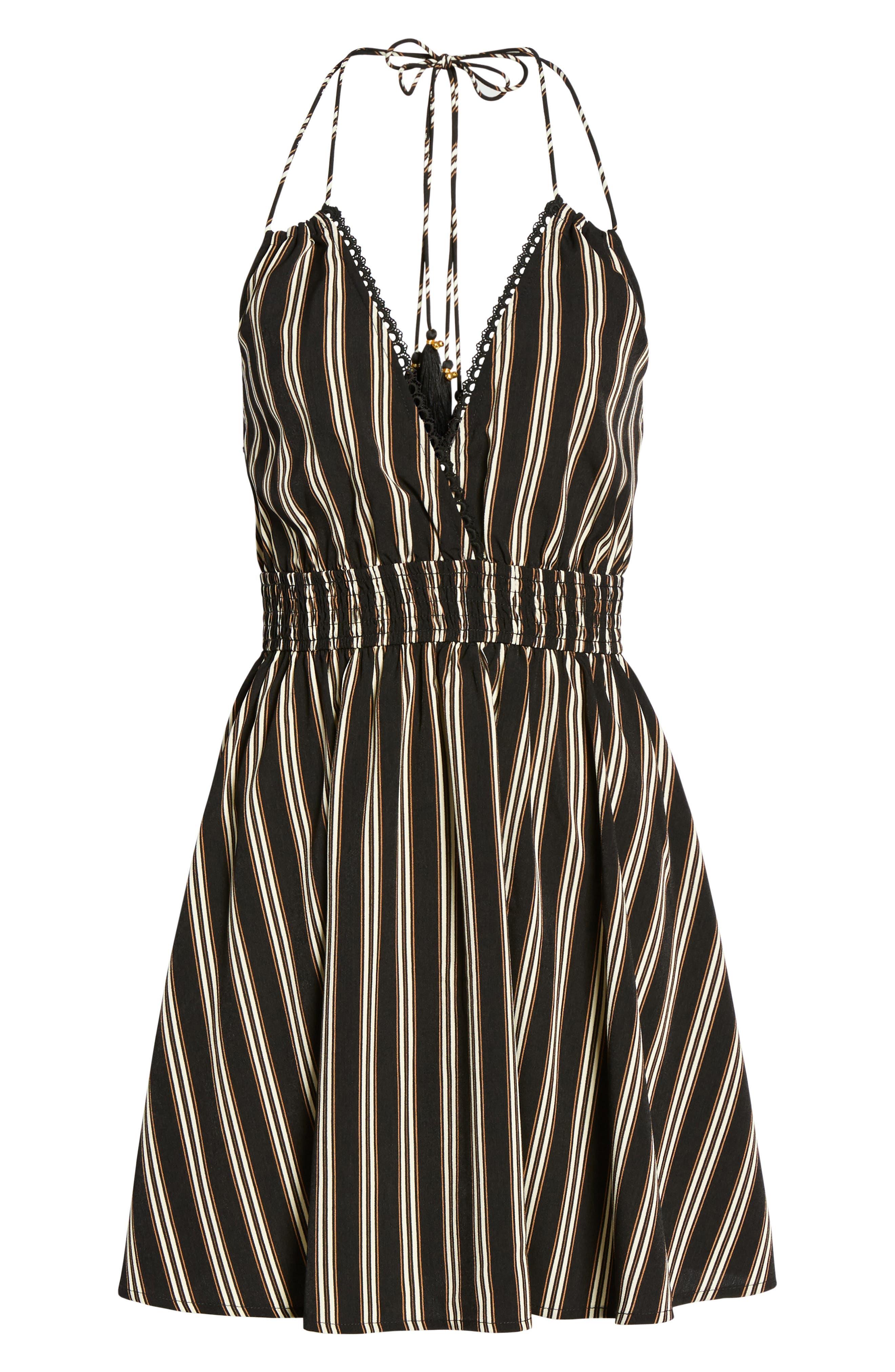 Stripe Halter Skater Dress,                             Alternate thumbnail 6, color,                             003