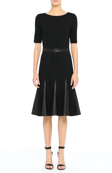 Alternate Video 7  - St. John Collection Pleated Milano Knit & Leather Dress