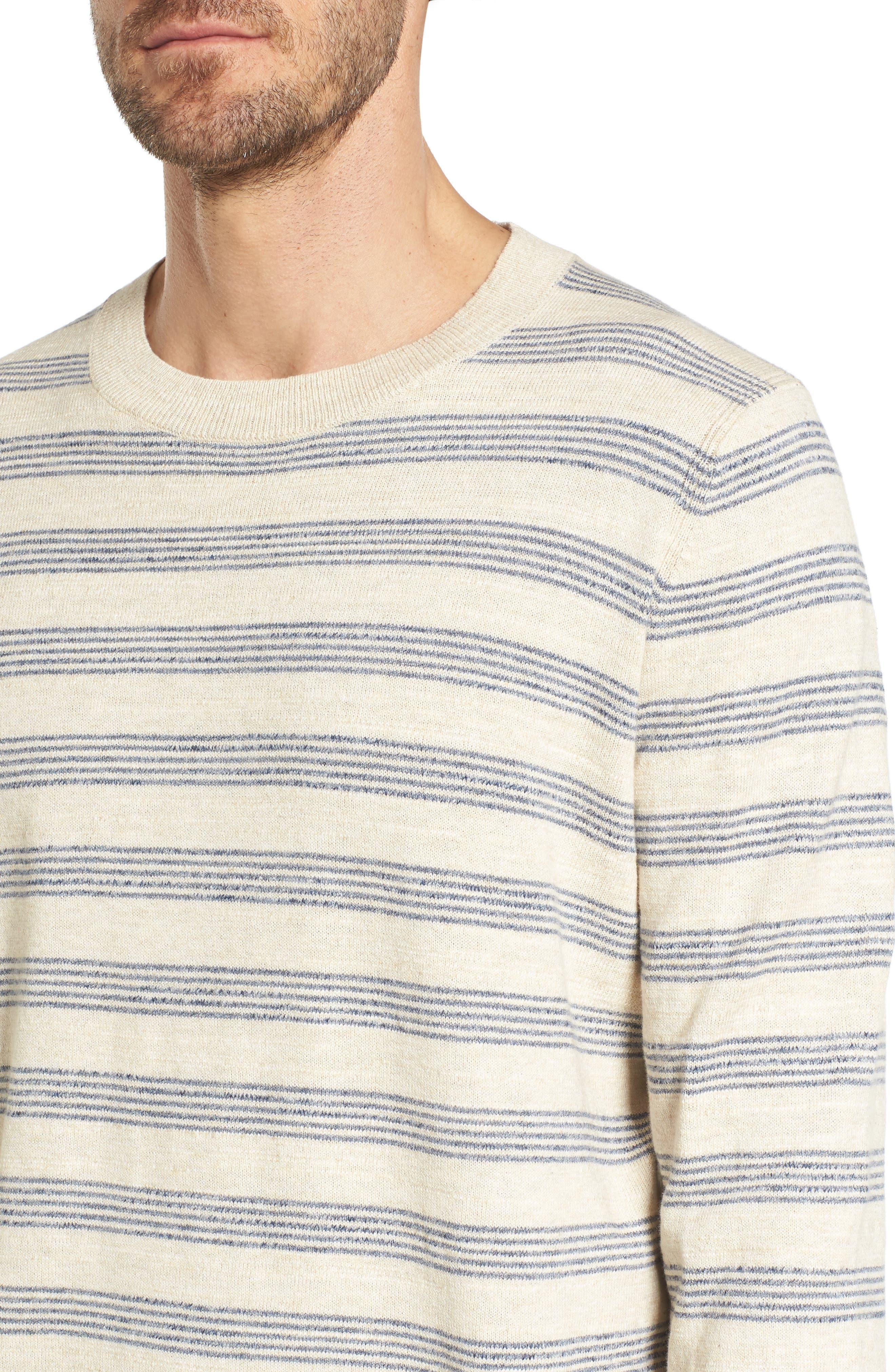 Stripe Cotton Sweater,                             Alternate thumbnail 4, color,                             900