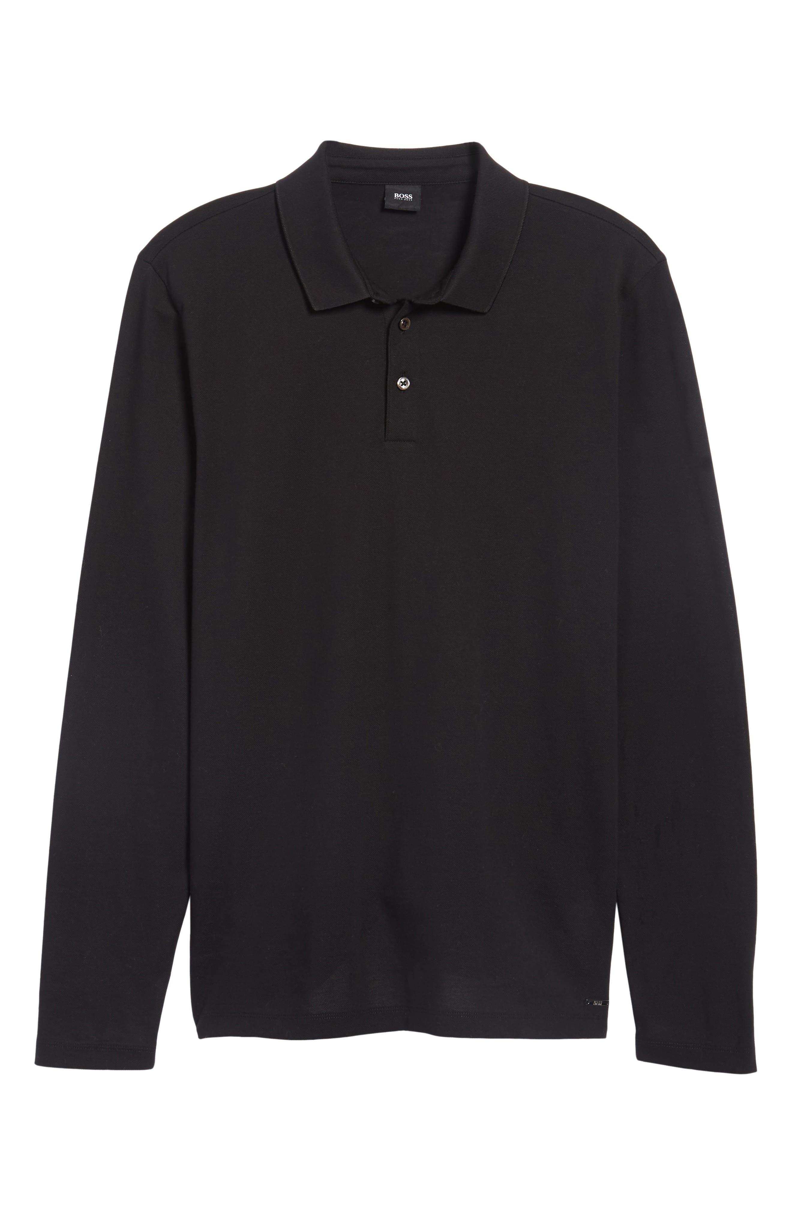 Pleins Slim Fit Long Sleeve Polo,                             Alternate thumbnail 6, color,                             001