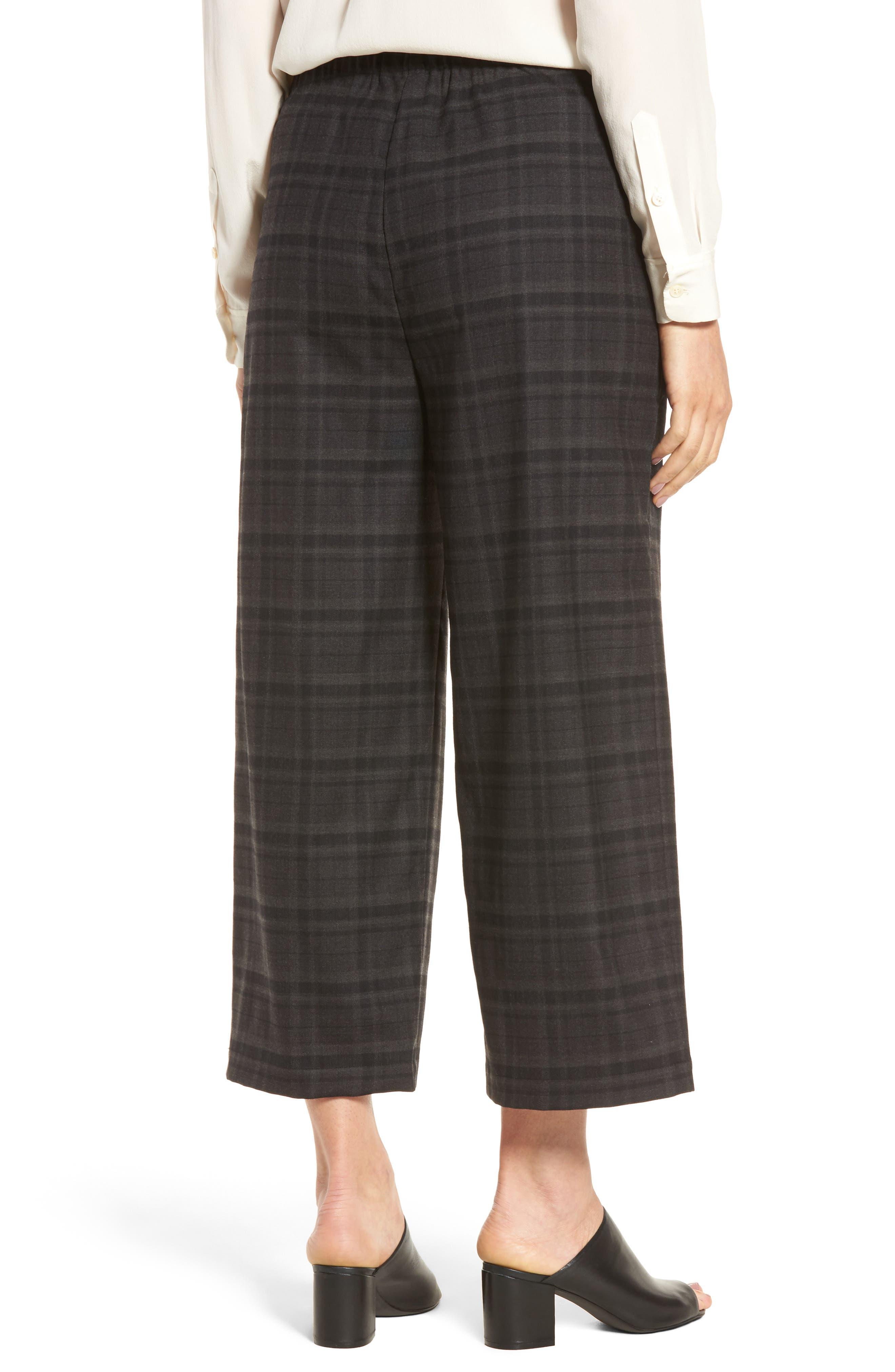 Wide Leg Plaid Crop Pants,                             Alternate thumbnail 2, color,                             021