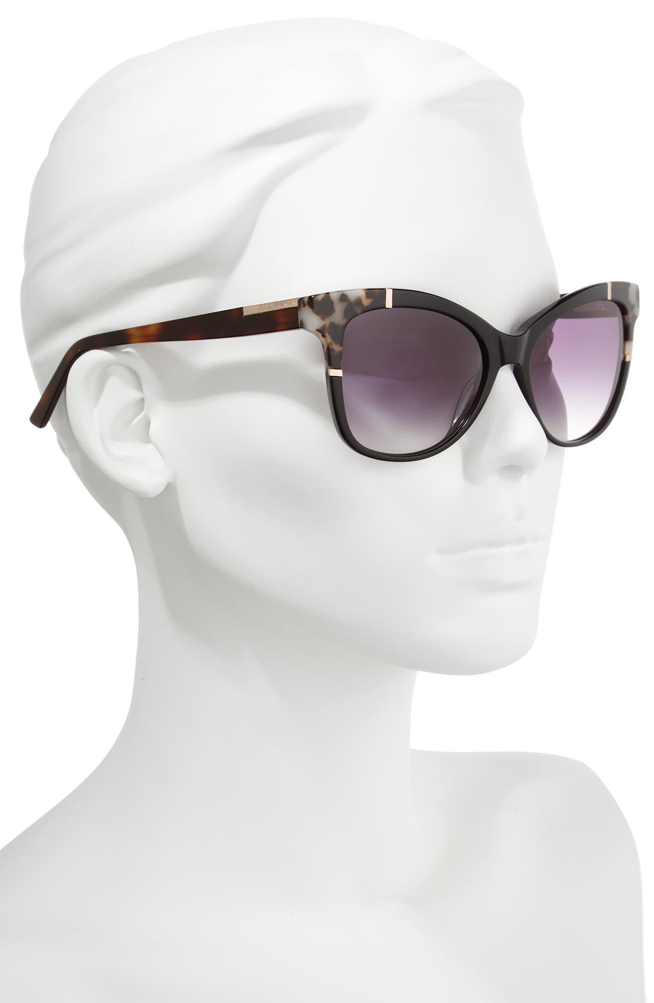 55mm Square Cat Eye Sunglasses,                             Alternate thumbnail 2, color,                             001