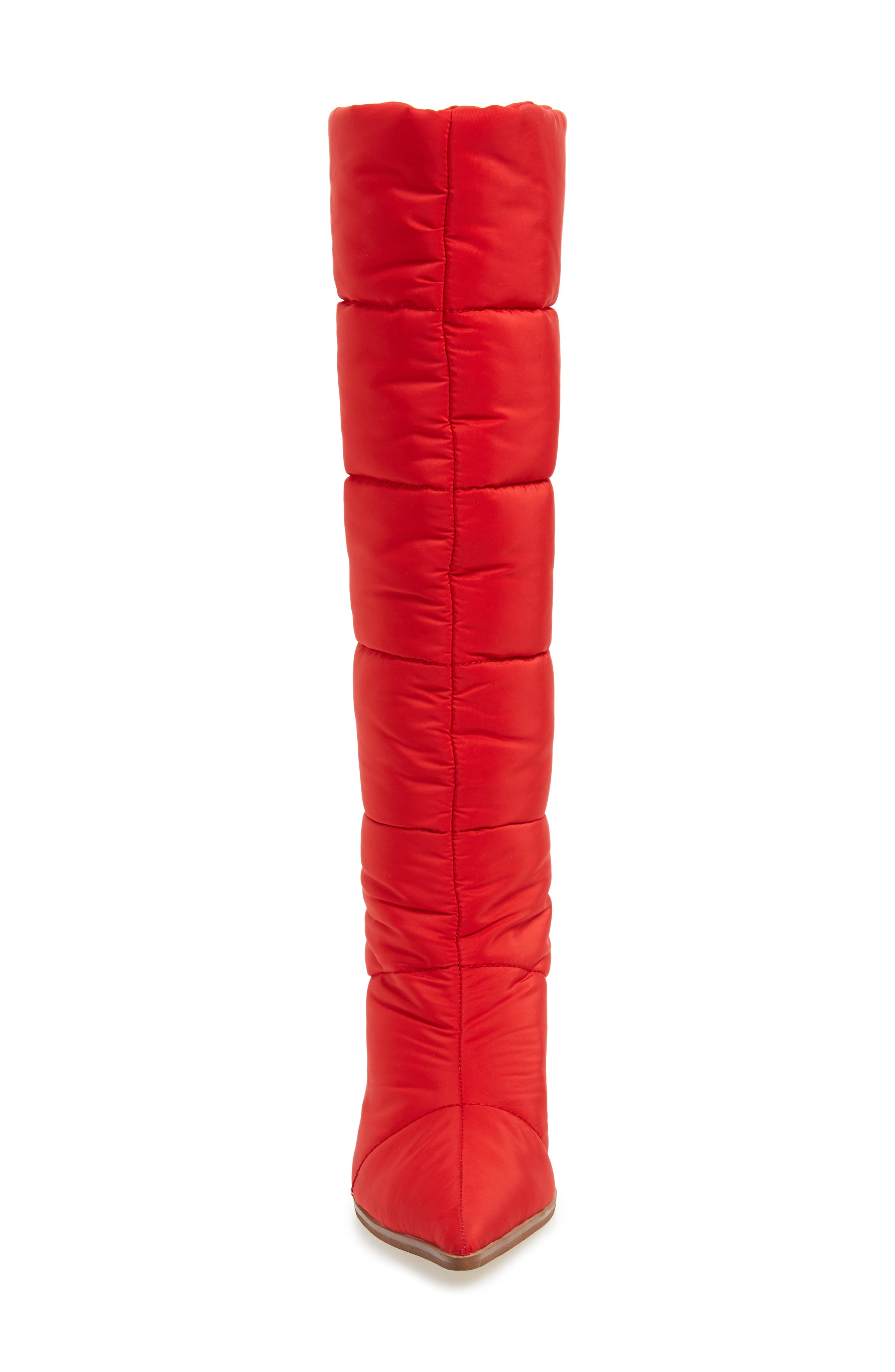 Apris Knee High Puffer Boot,                             Alternate thumbnail 4, color,                             RED FABRIC