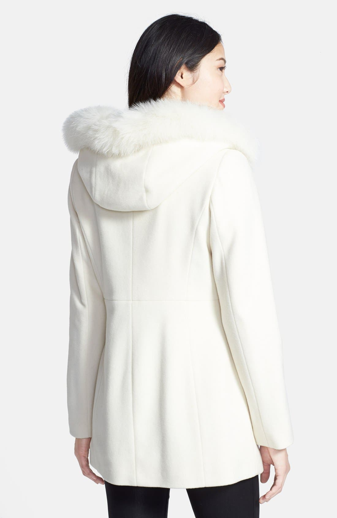 Genuine Fox Fur Trim Hooded Wool Blend Coat,                             Alternate thumbnail 26, color,