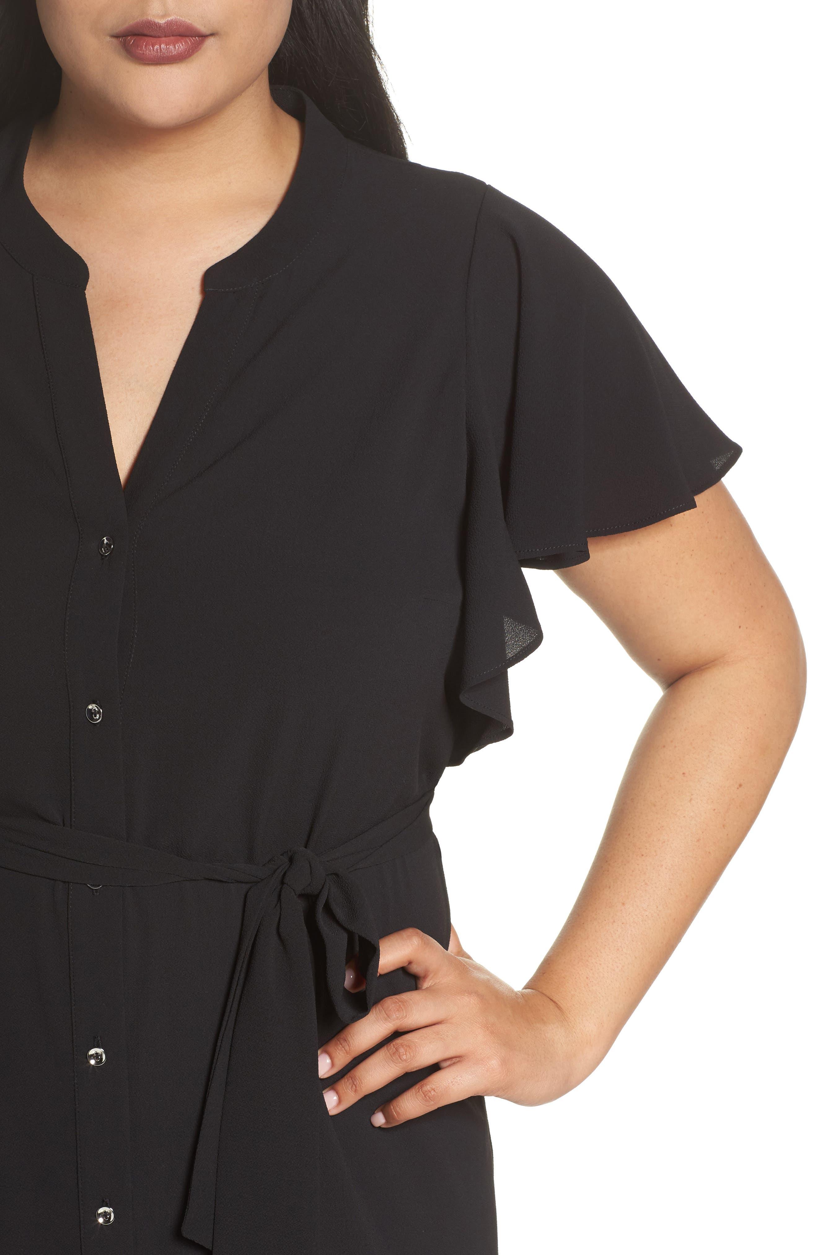 Ruffled Maxi Shirtdress,                             Alternate thumbnail 4, color,                             001