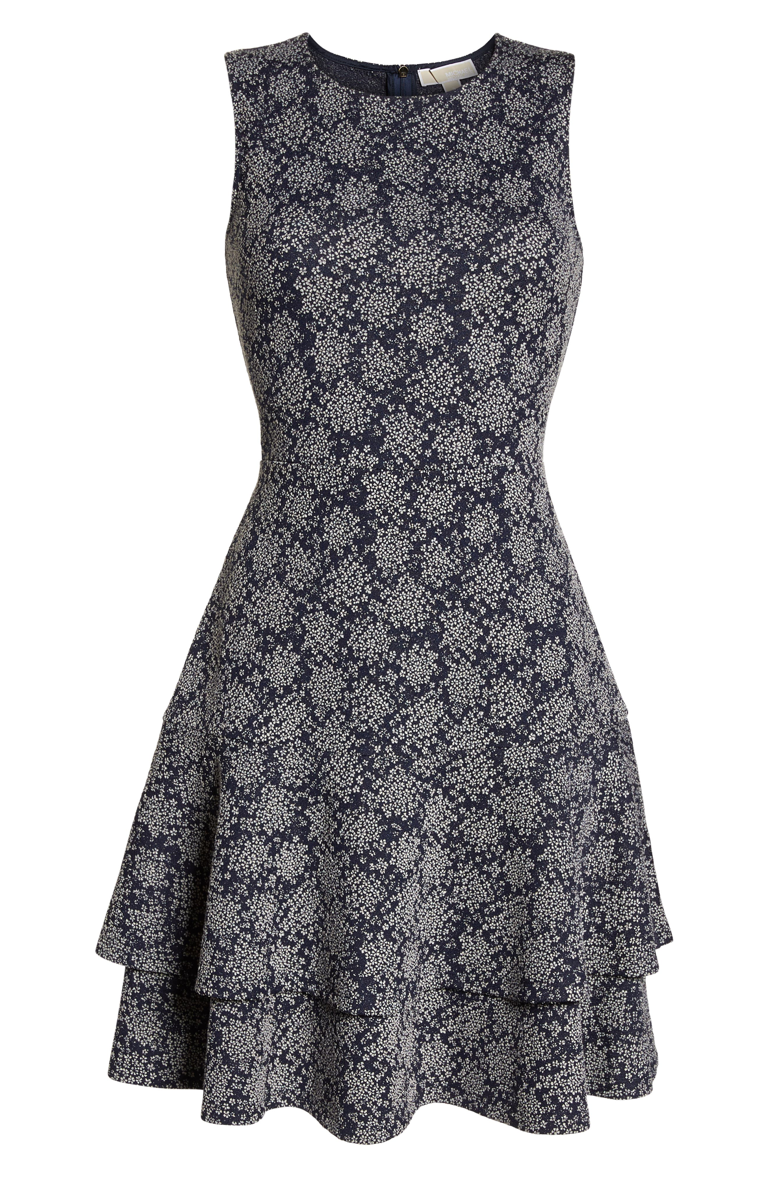 Tiered Fit & Flare Dress,                             Alternate thumbnail 7, color,                             TRUE NAVY/ WHITE