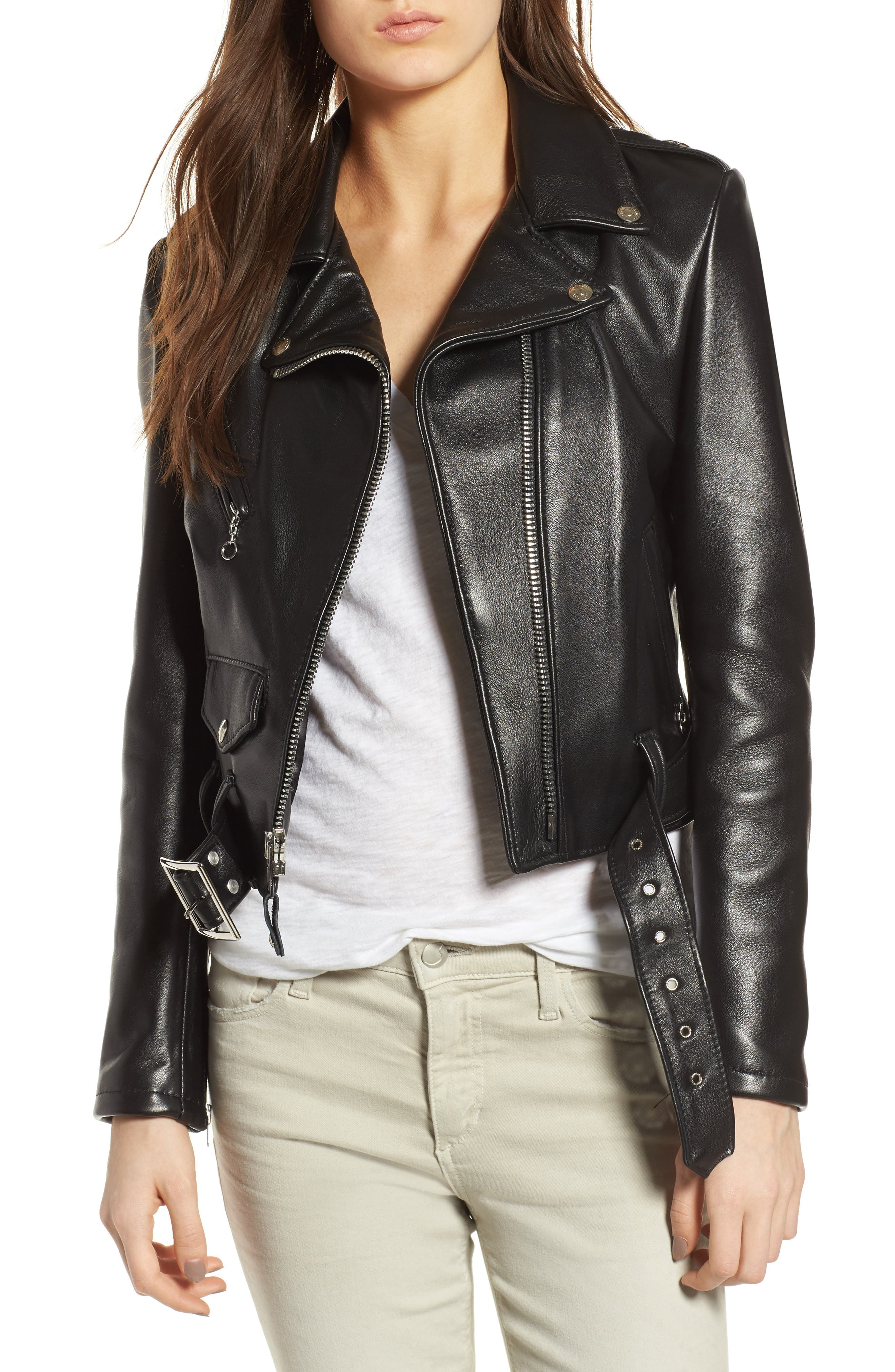 SCHOTT NYC,                             Crop Leather Jacket,                             Main thumbnail 1, color,                             001