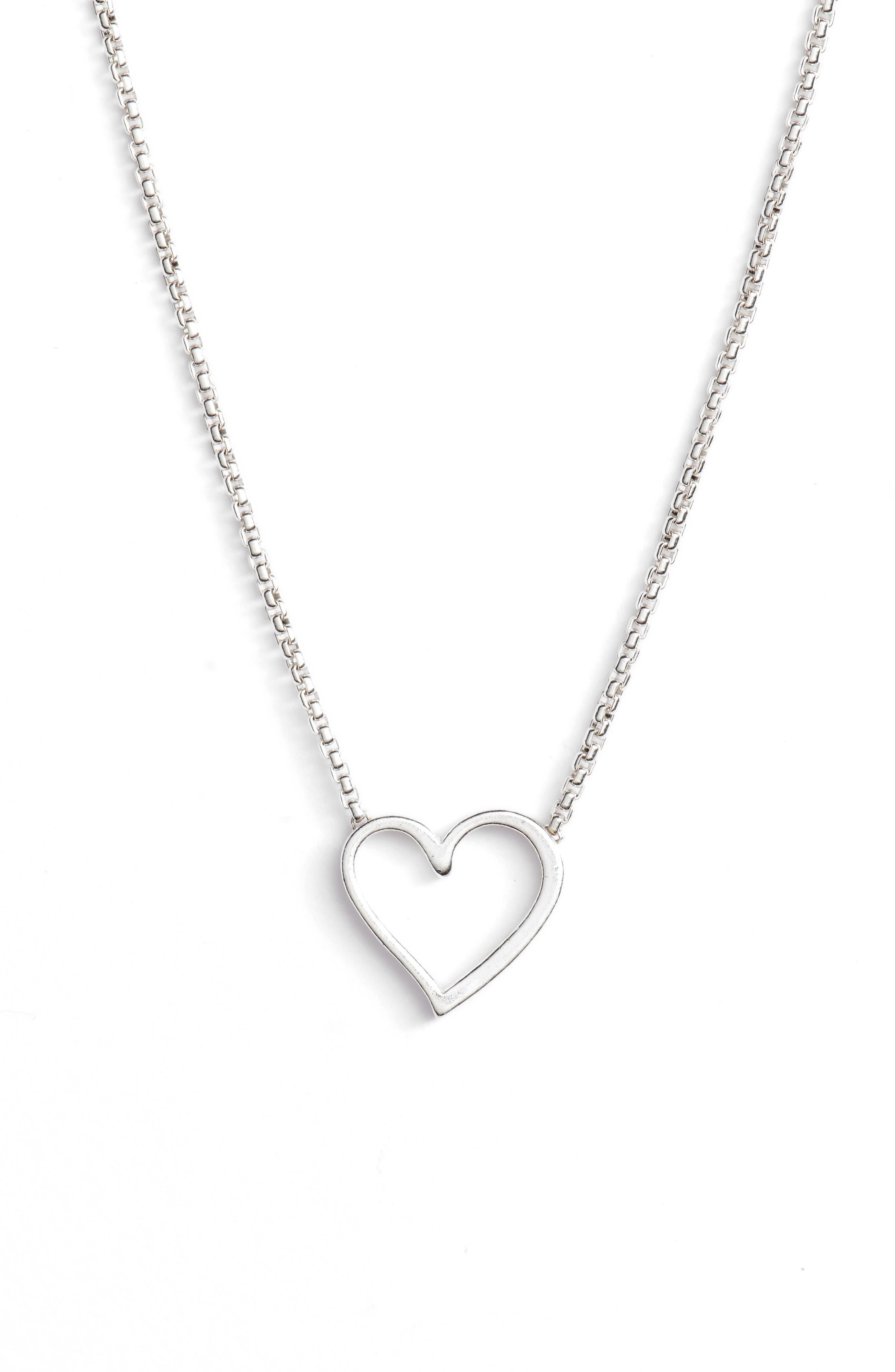 Heart Necklace,                             Main thumbnail 1, color,                             SILVER