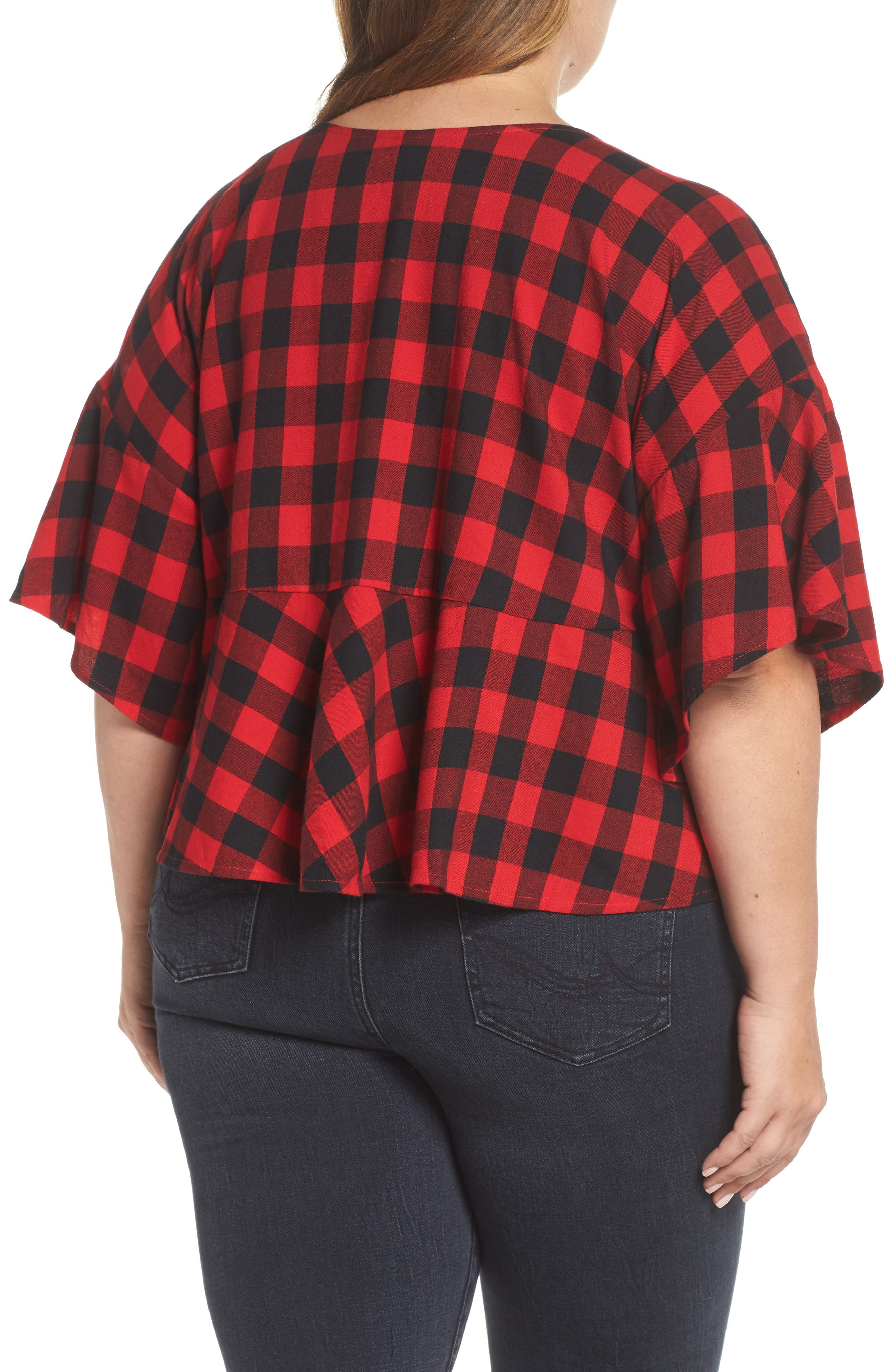 Plaid Peplum Top,                             Alternate thumbnail 2, color,                             RED CHINOISE DARCY CHECK
