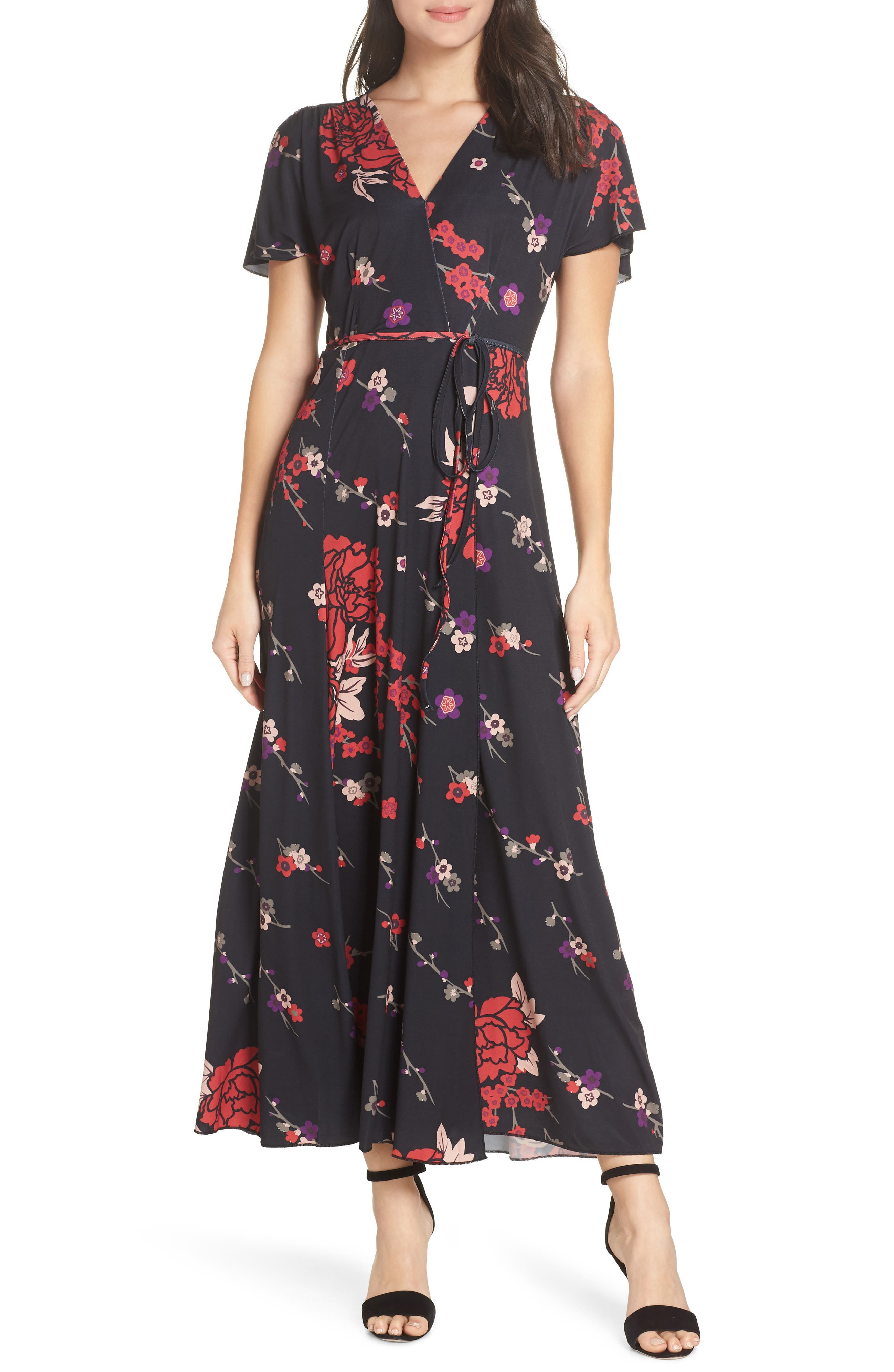 French Connection Floral V-Neck Maxi Dress, Black