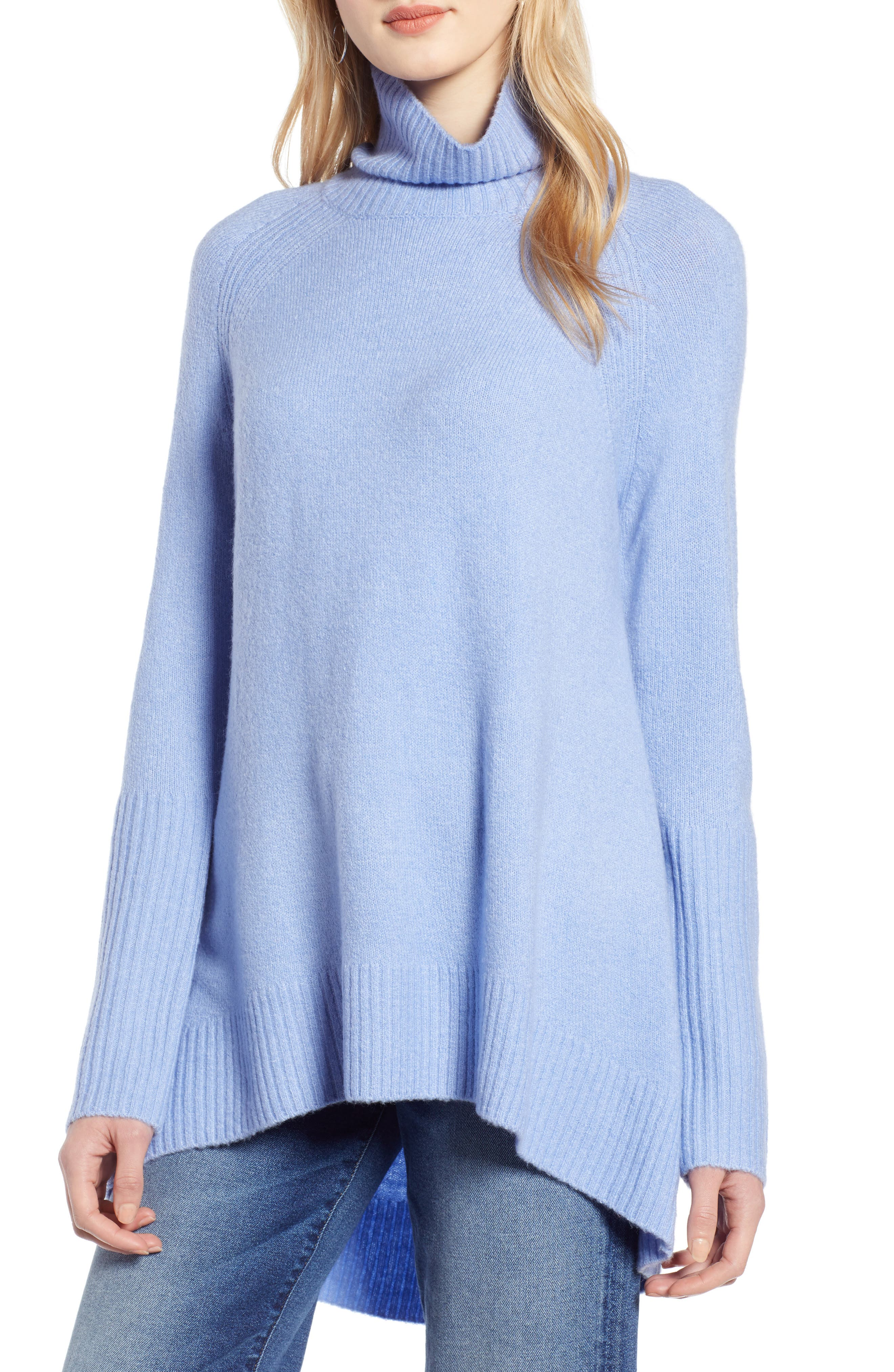 Halogen High Low Oversize Wool Blend Sweater, Blue