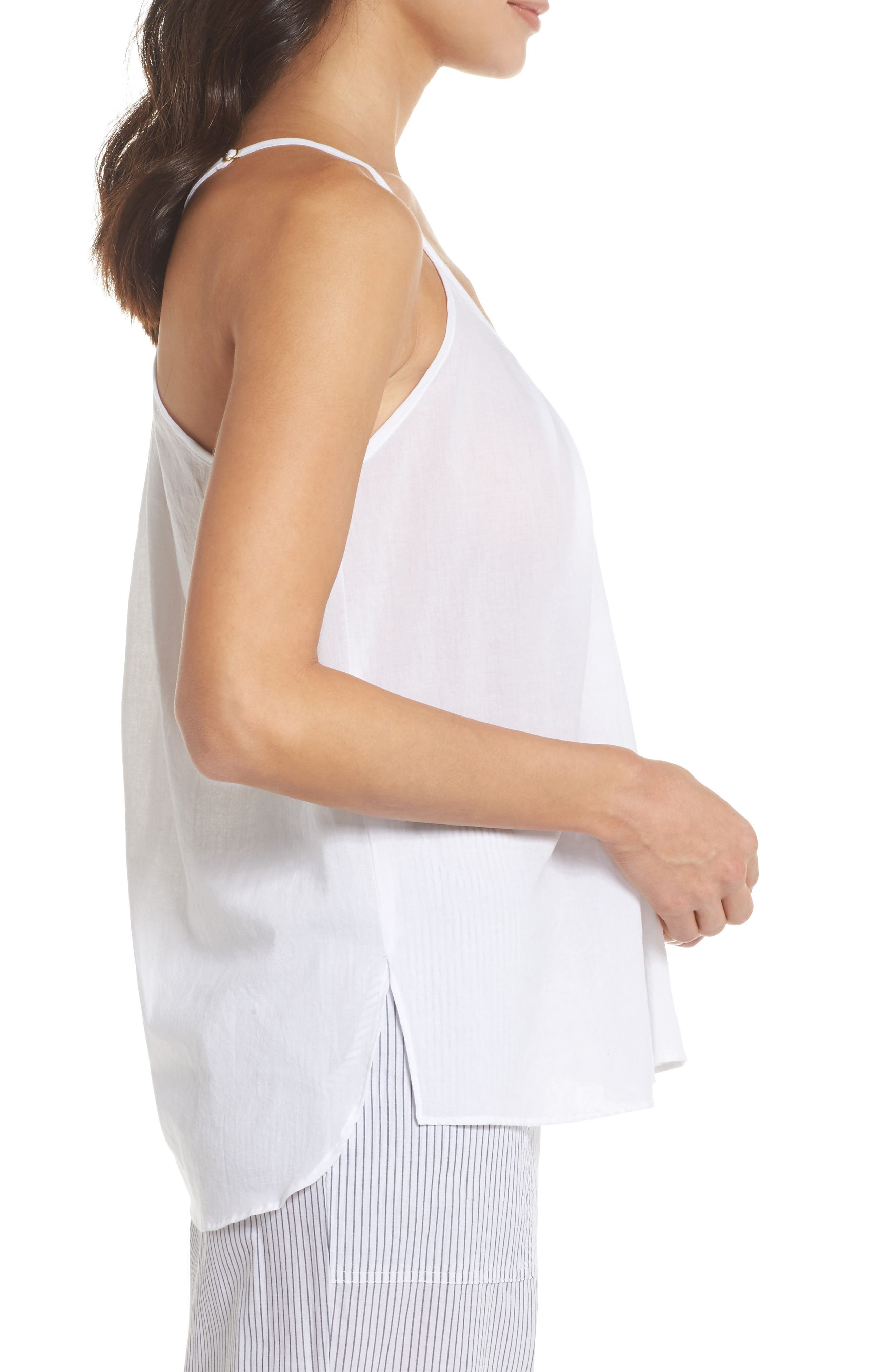 Cotton Voile Pleated Camisole,                             Alternate thumbnail 3, color,                             100