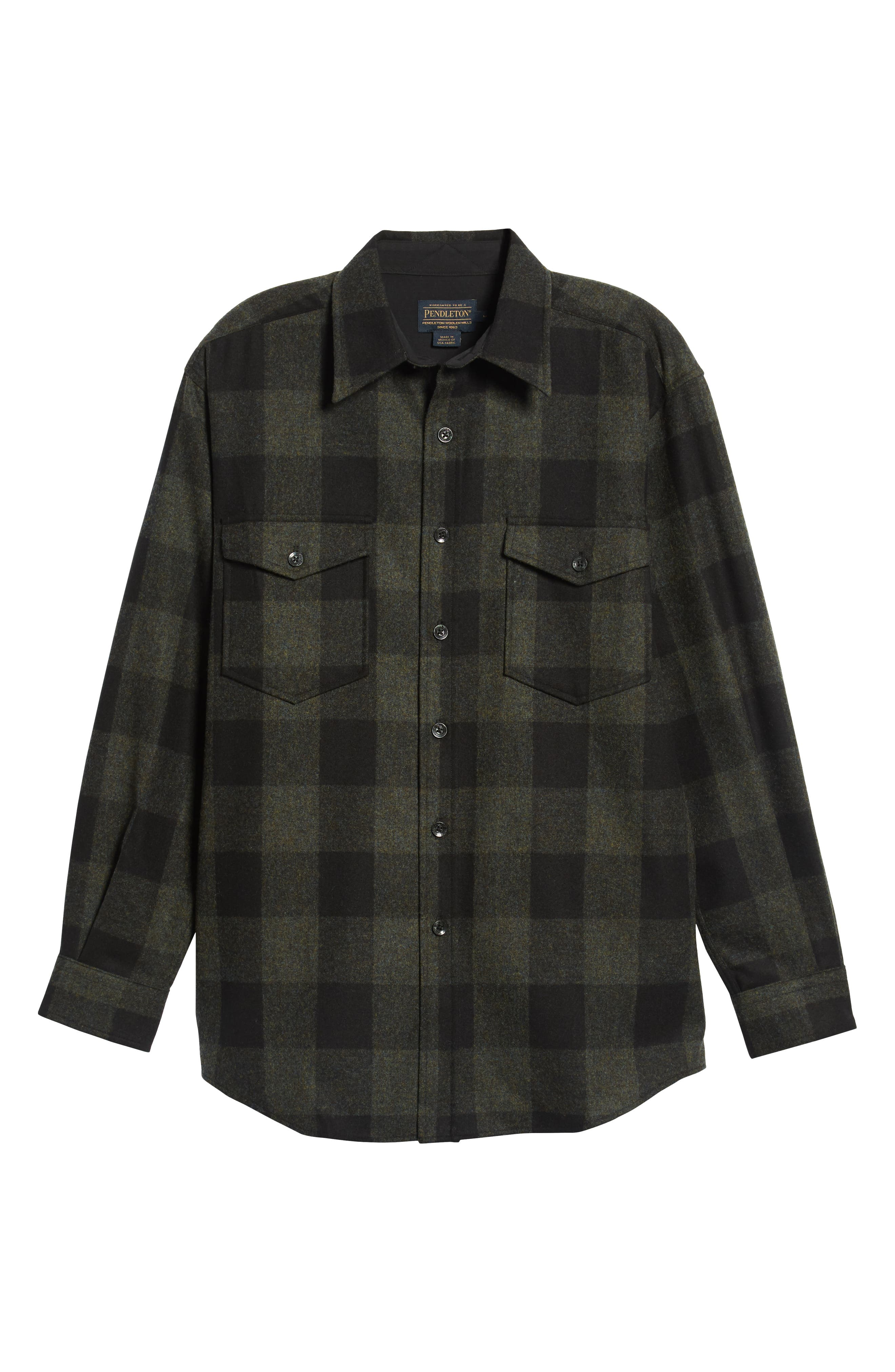 Guide Wool Shirt,                             Alternate thumbnail 5, color,                             BLUE GREEN BUFFALO CHECK