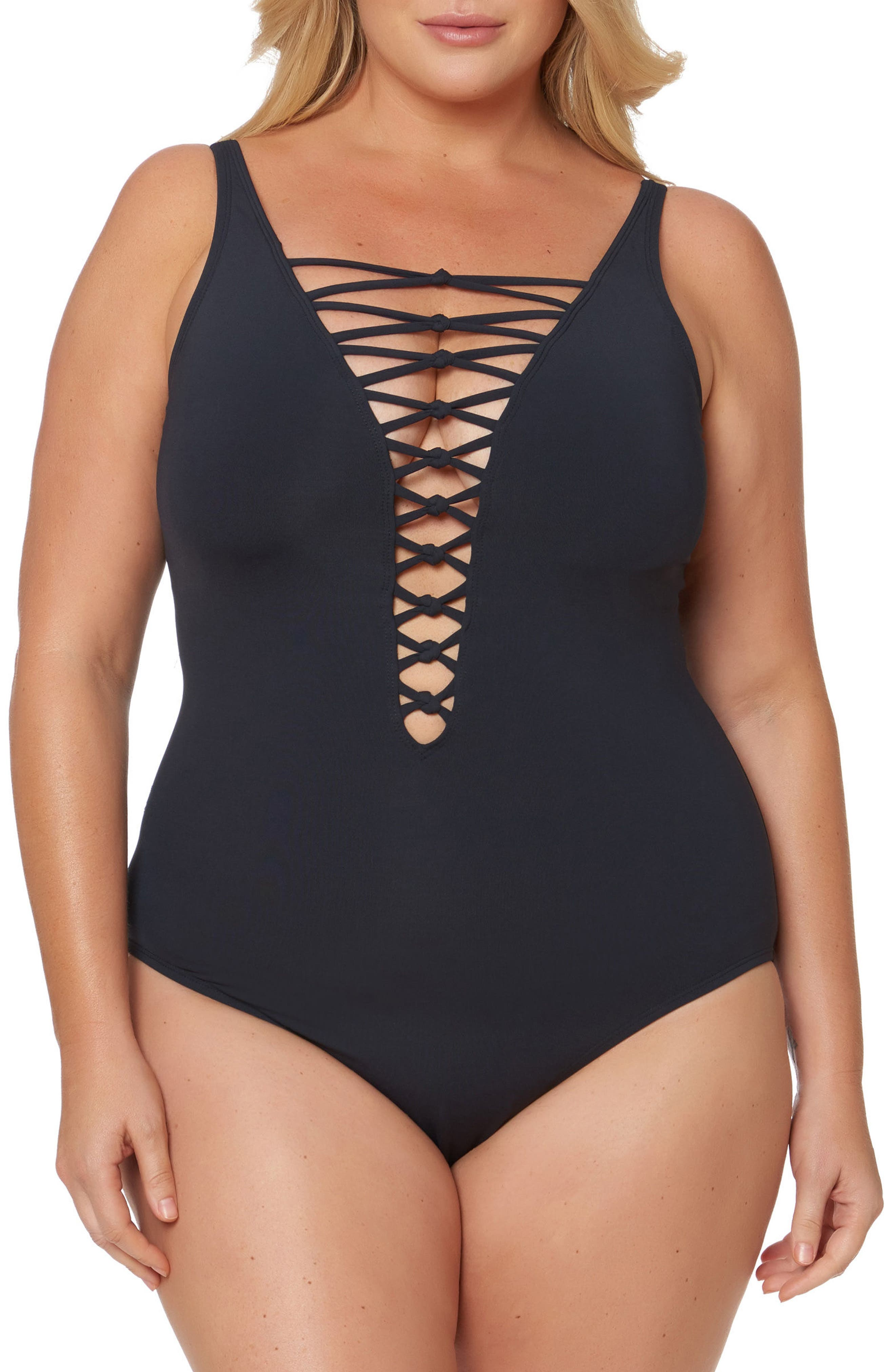 Plus Size Bleu By Rod Beattie Lattice One-Piece Swimsuit, Black