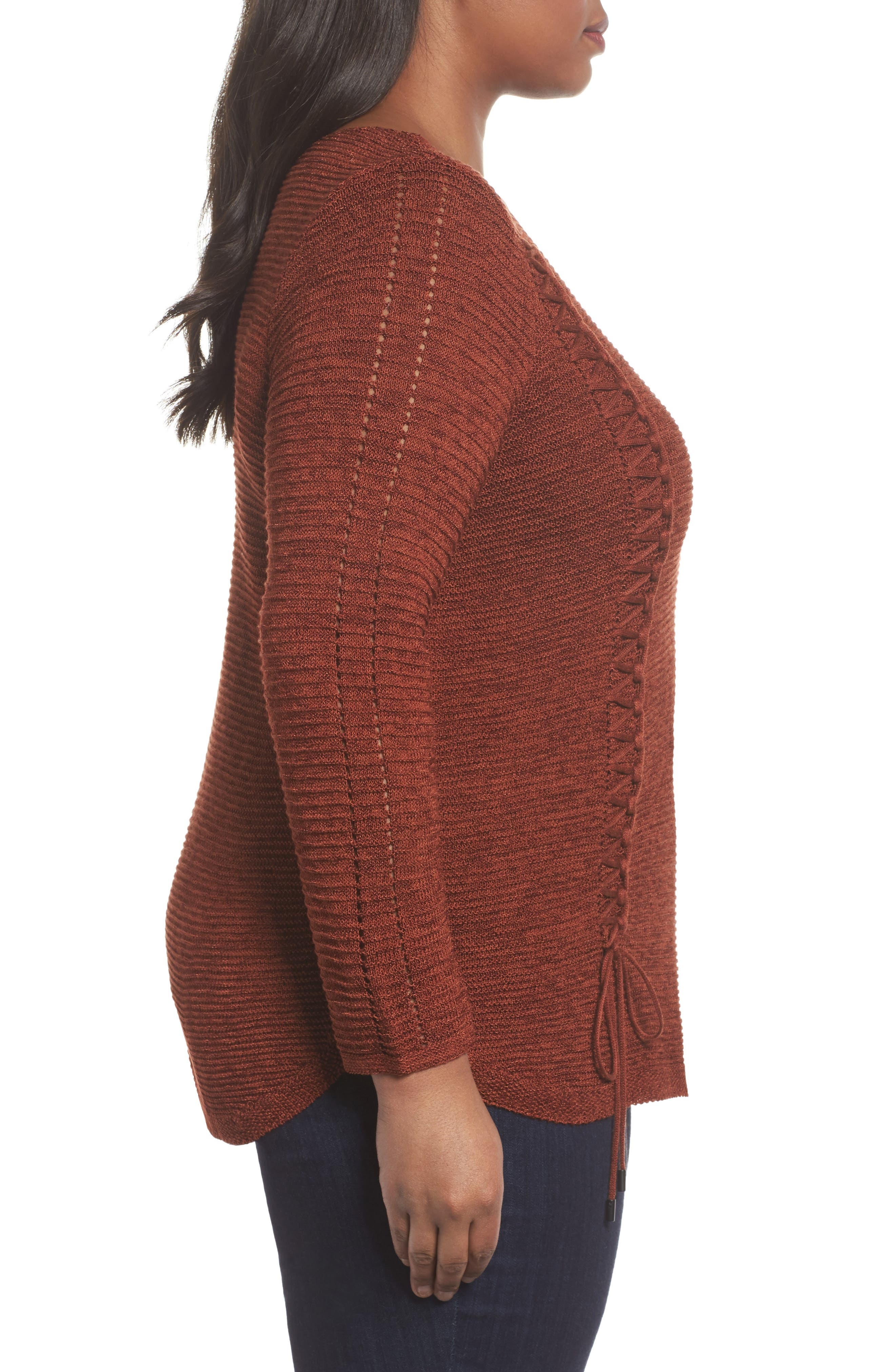 Braided Up Sweater,                             Alternate thumbnail 3, color,                             BRANDY