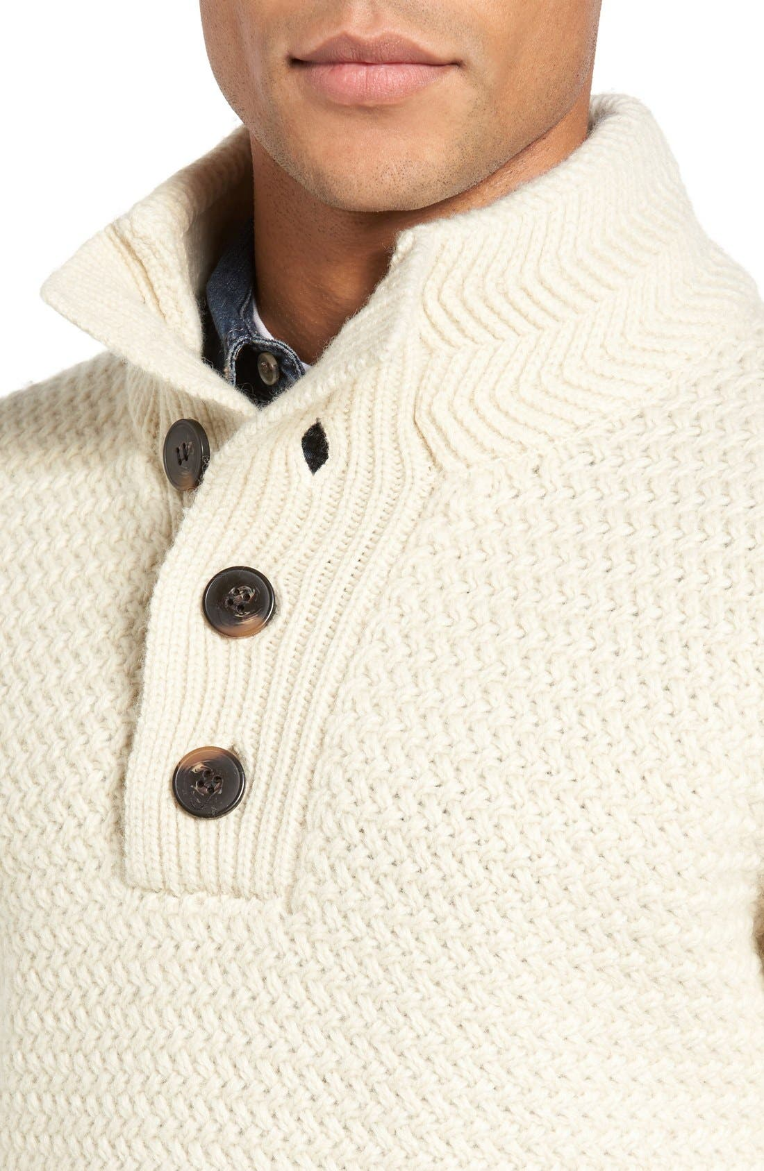 Military Henley Sweater,                             Alternate thumbnail 8, color,                             OFF WHITE