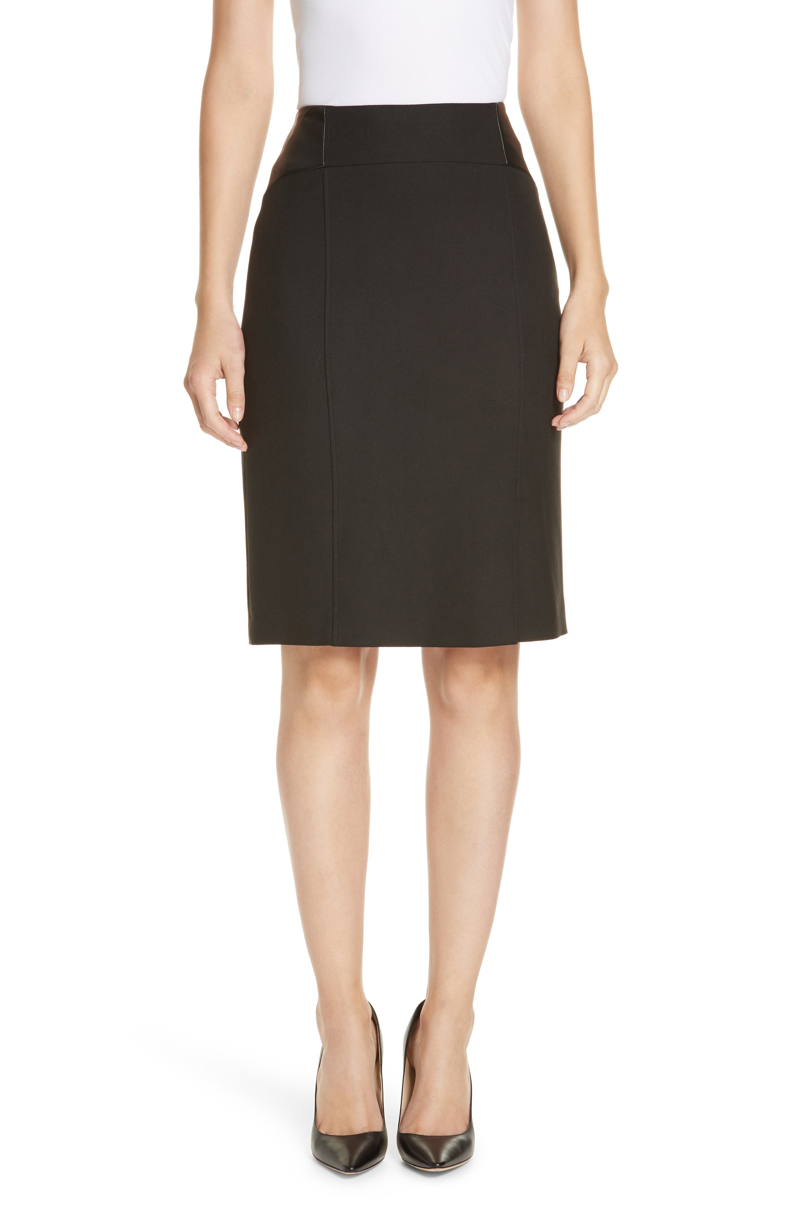 Valeta Soft Twill Faux Leather Detail Pencil Skirt,                         Main,                         color, BLACK