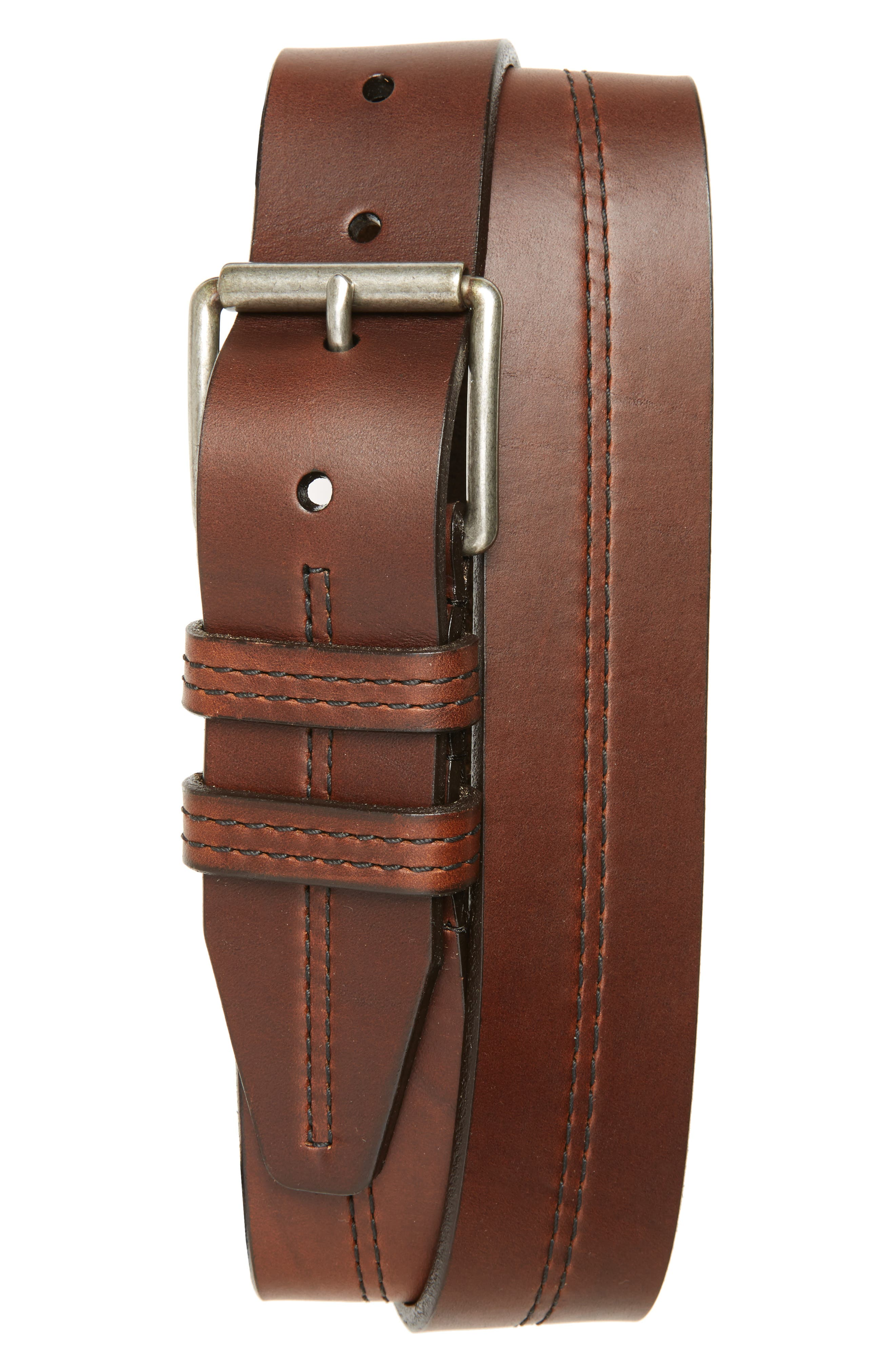 Mason Center Stitch Horween<sup>®</sup> Leather Belt,                             Main thumbnail 2, color,